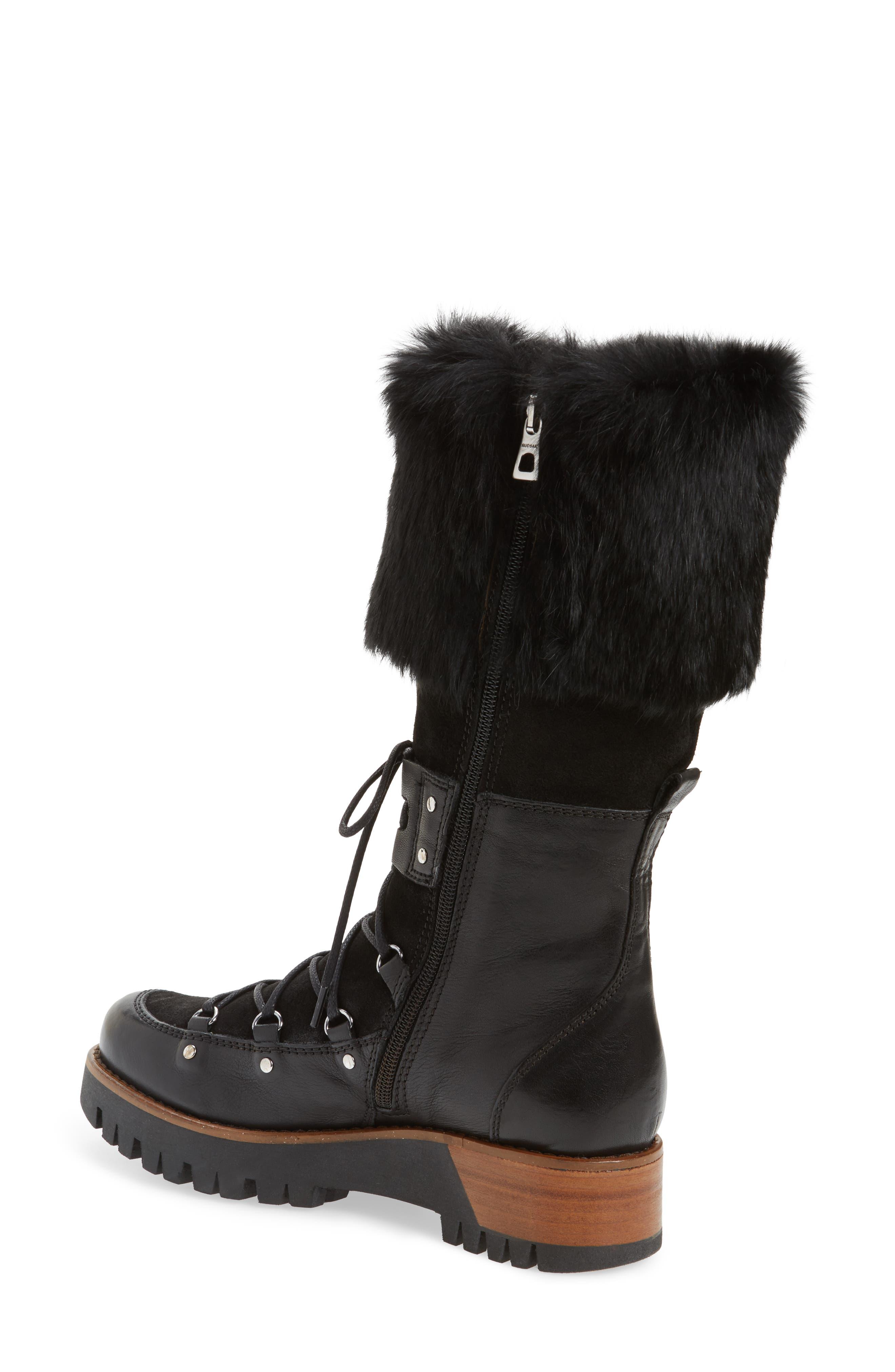 Tellurian Genuine Rabbit Fur Cuff Boot,                             Alternate thumbnail 2, color,                             Black Leather