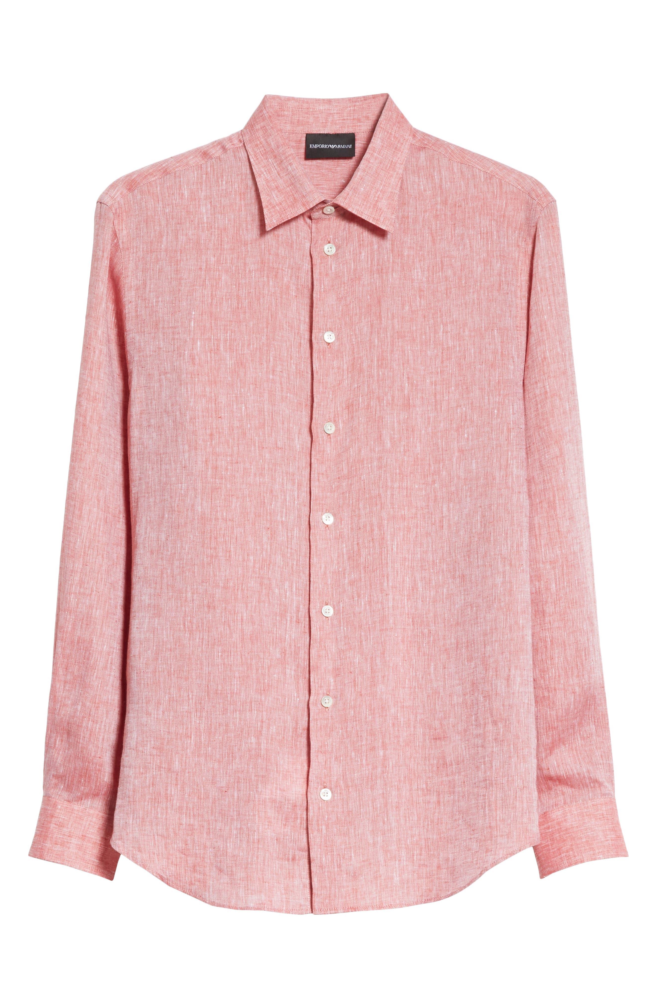 Regular Fit Chambray Sport Shirt,                             Alternate thumbnail 6, color,                             Medium Red
