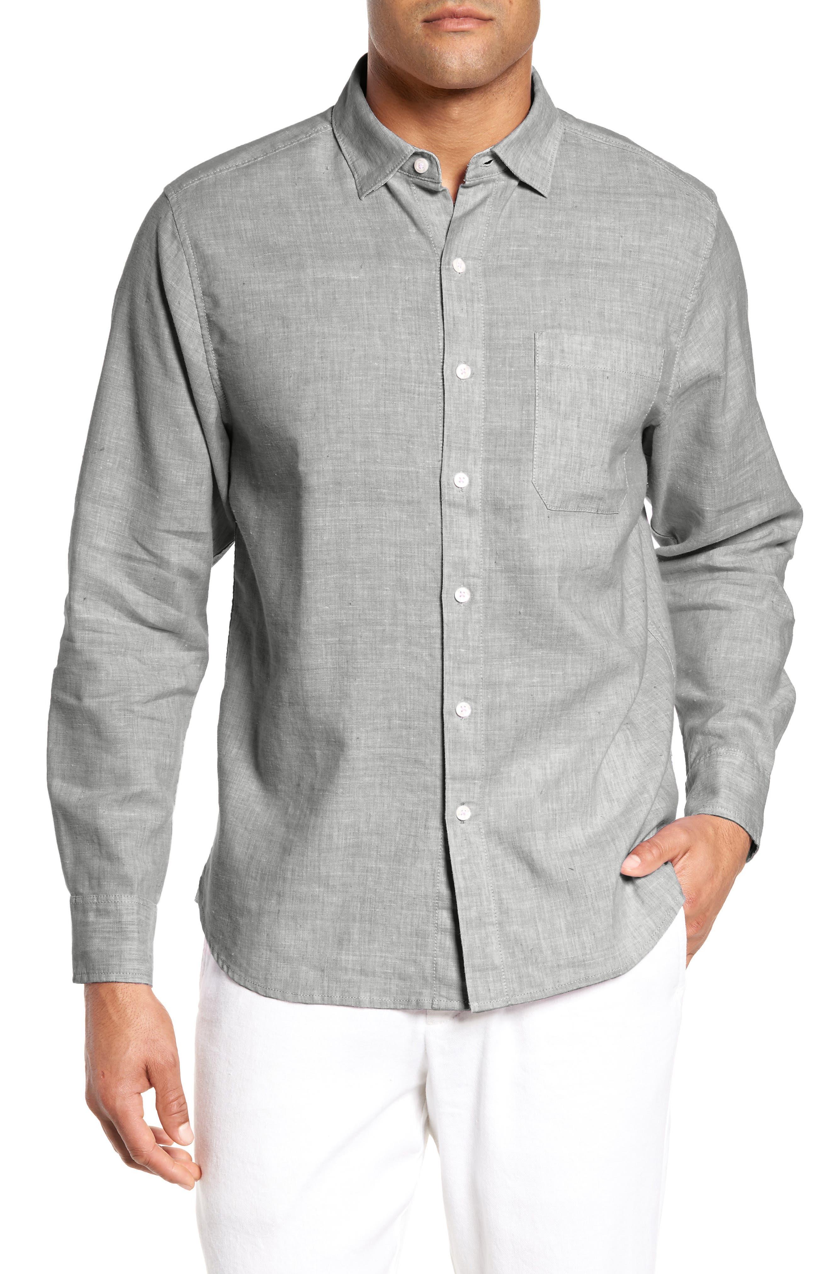 Lanai Tides Regular Fit Linen Blend Sport Shirt,                             Main thumbnail 1, color,                             Smoke Grey