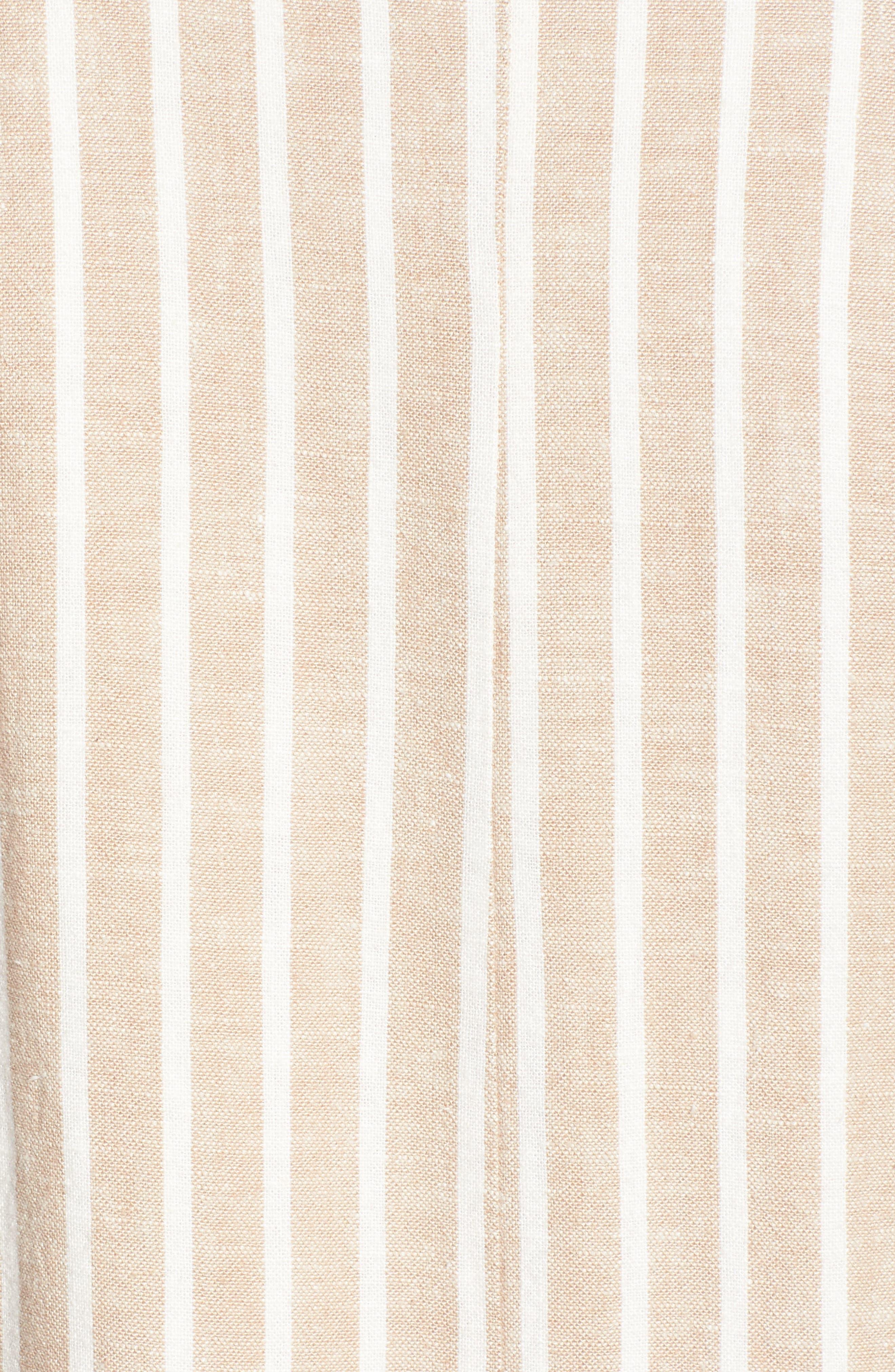 Cinch Sleeve Blazer,                             Alternate thumbnail 5, color,                             Tan Nomad Ella Linen Stripe