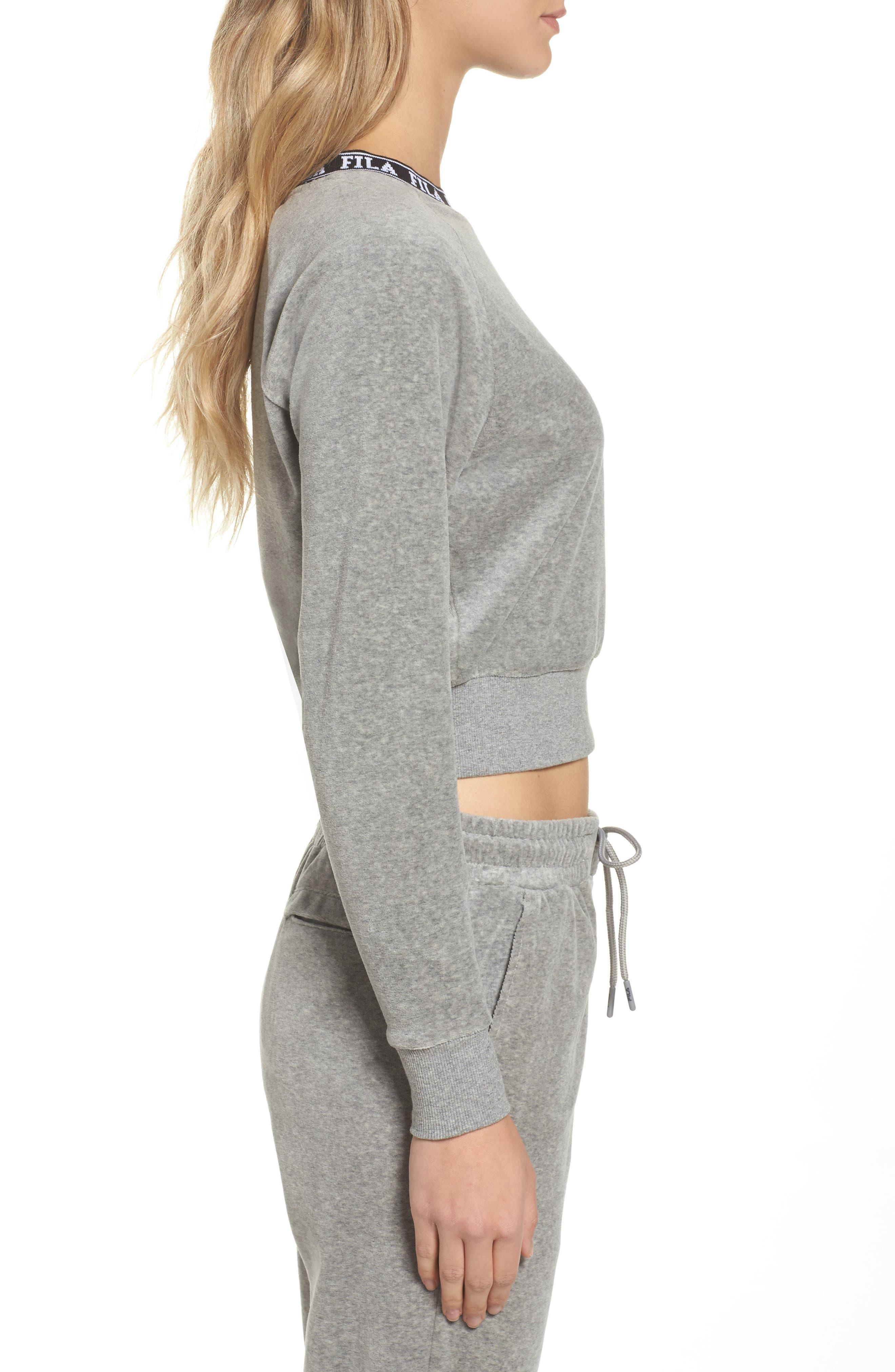 Dina Velour Crop Sweatshirt,                             Alternate thumbnail 3, color,                             Grey Heather/ Black/ White