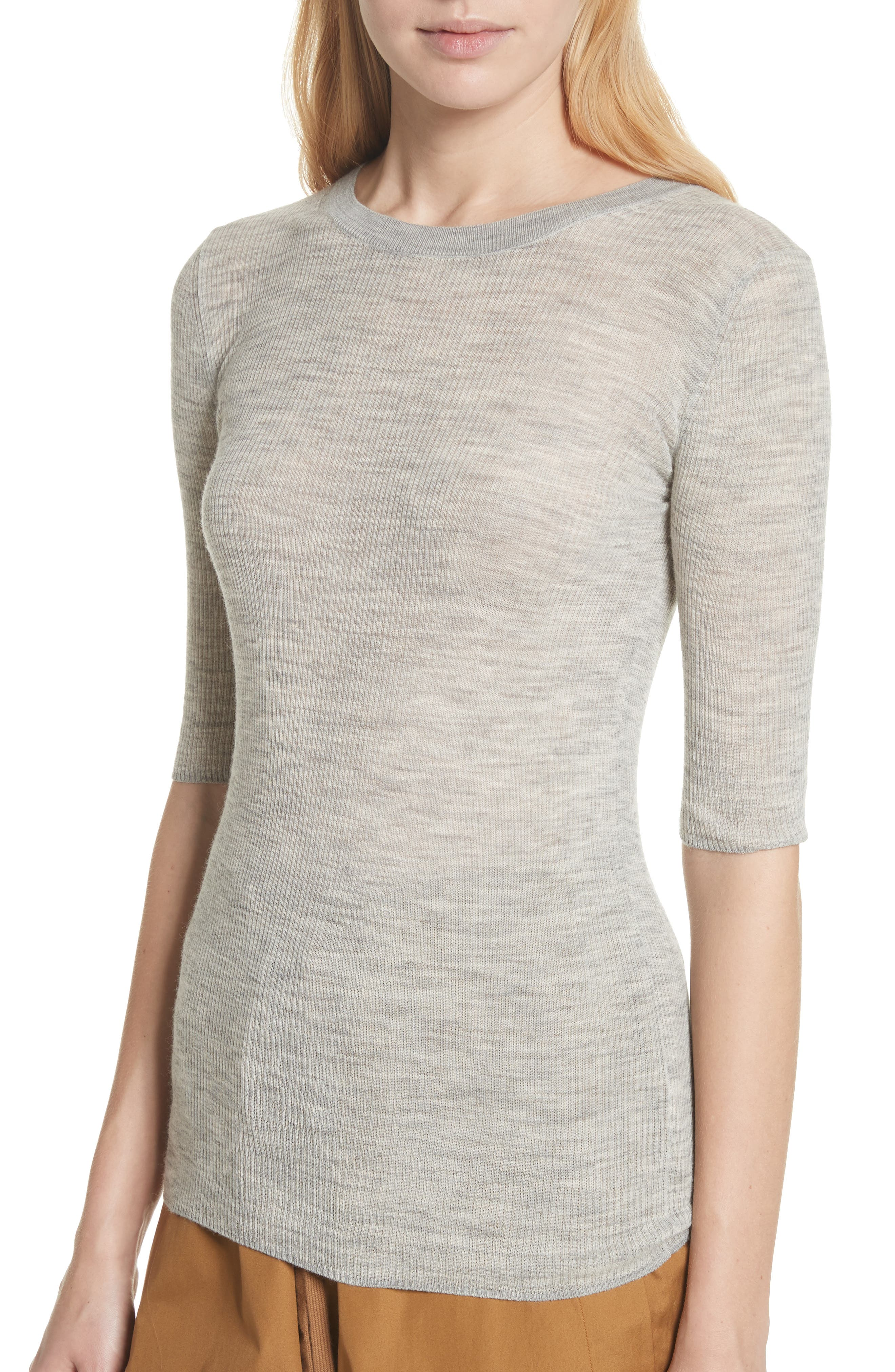 Ribbed Sweater,                             Alternate thumbnail 4, color,                             Light Heather Grey