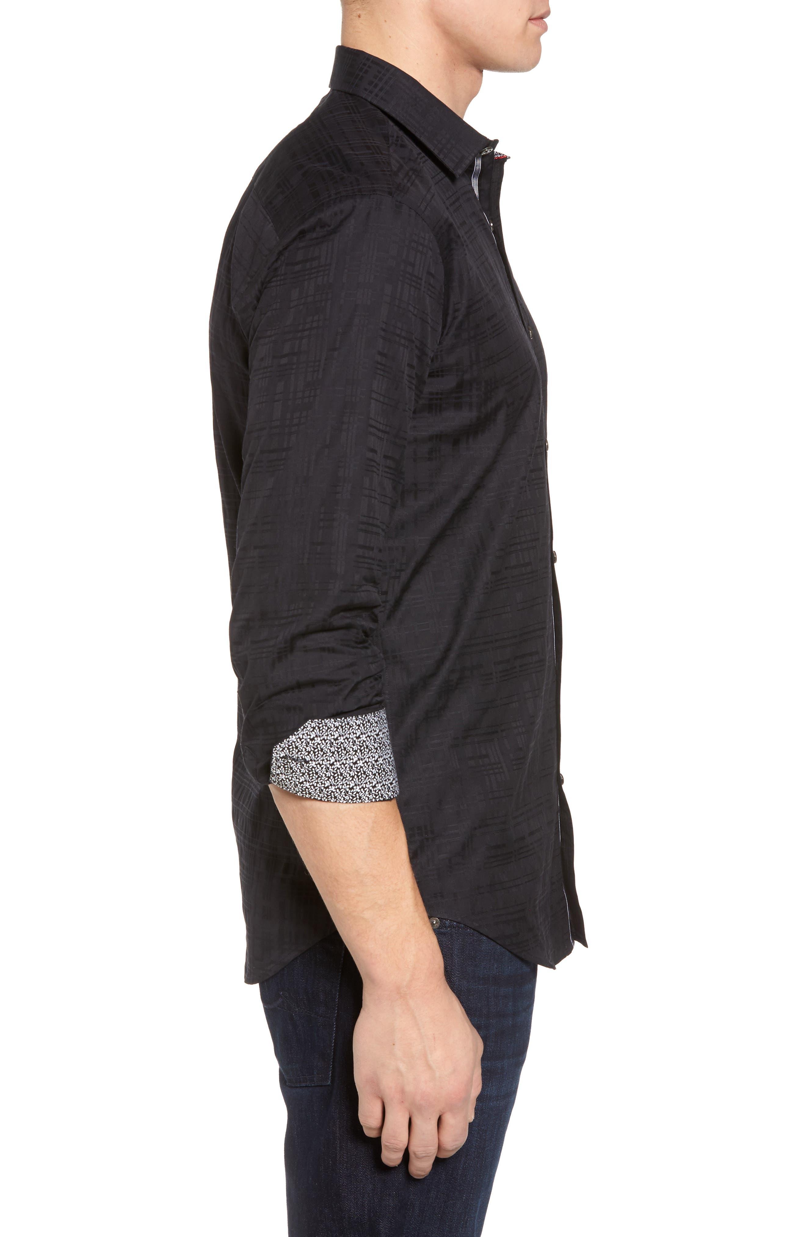 Shaped Fit Tonal Print Sport Shirt,                             Alternate thumbnail 3, color,                             Black