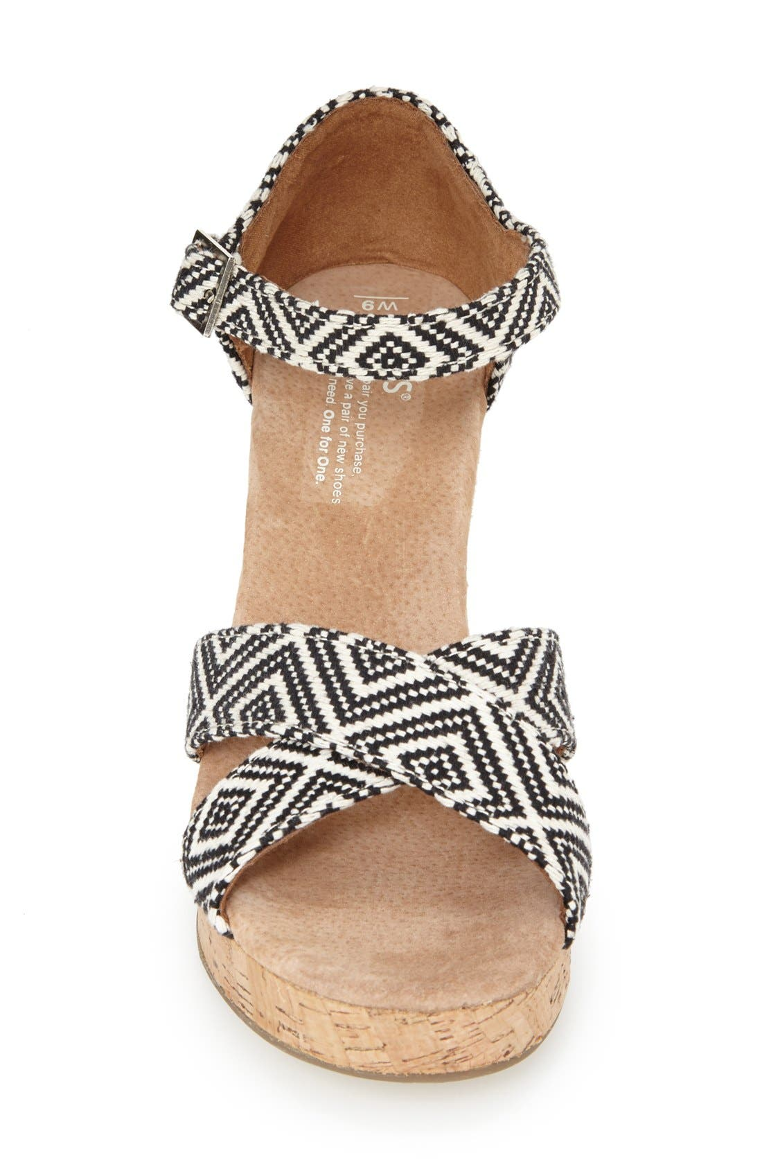 Alternate Image 3  - TOMS Canvas Woven Geometric Print Wedge Sandal (Women)