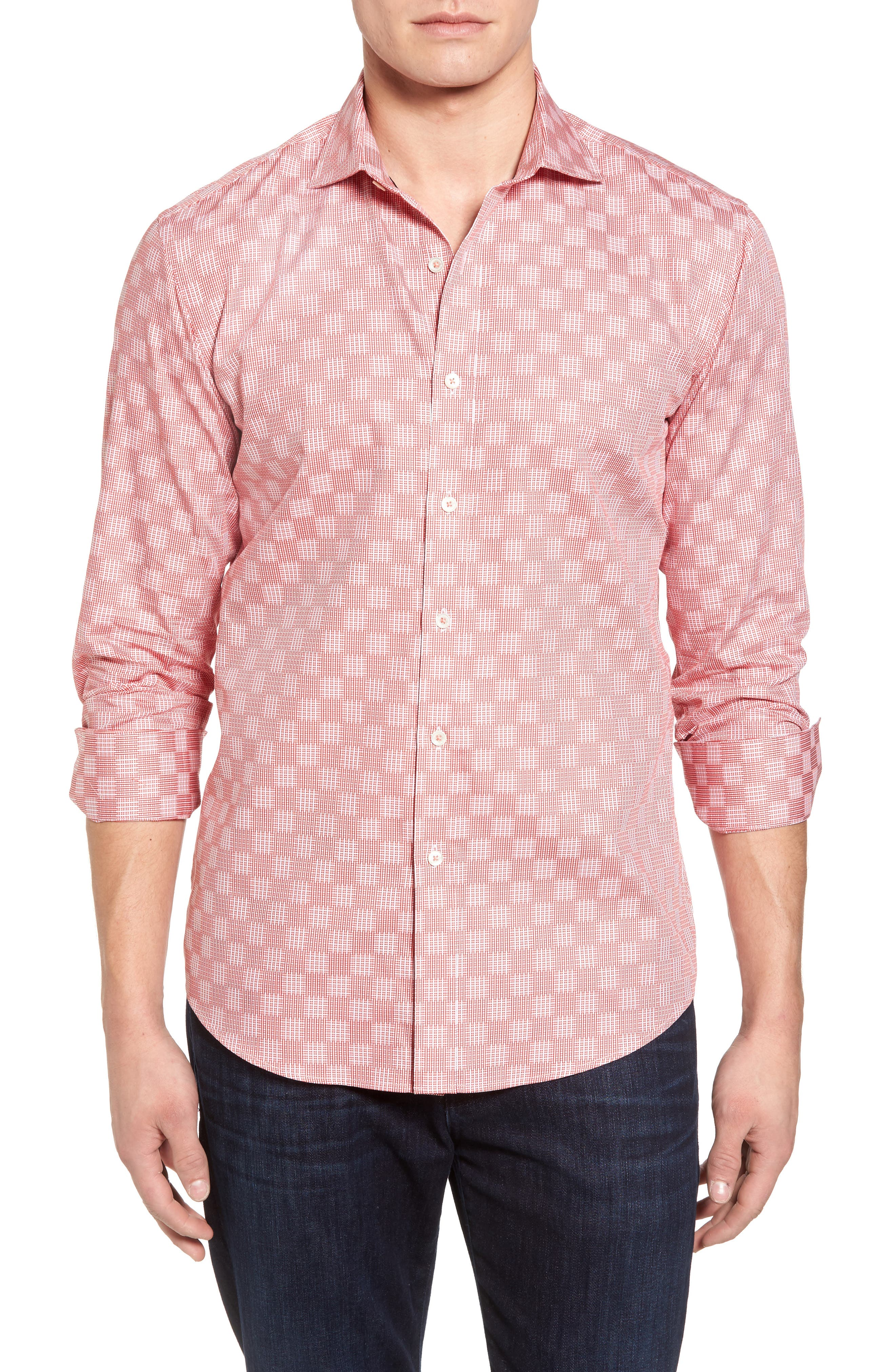Shaped Fit Print Sport Shirt,                         Main,                         color, Coral
