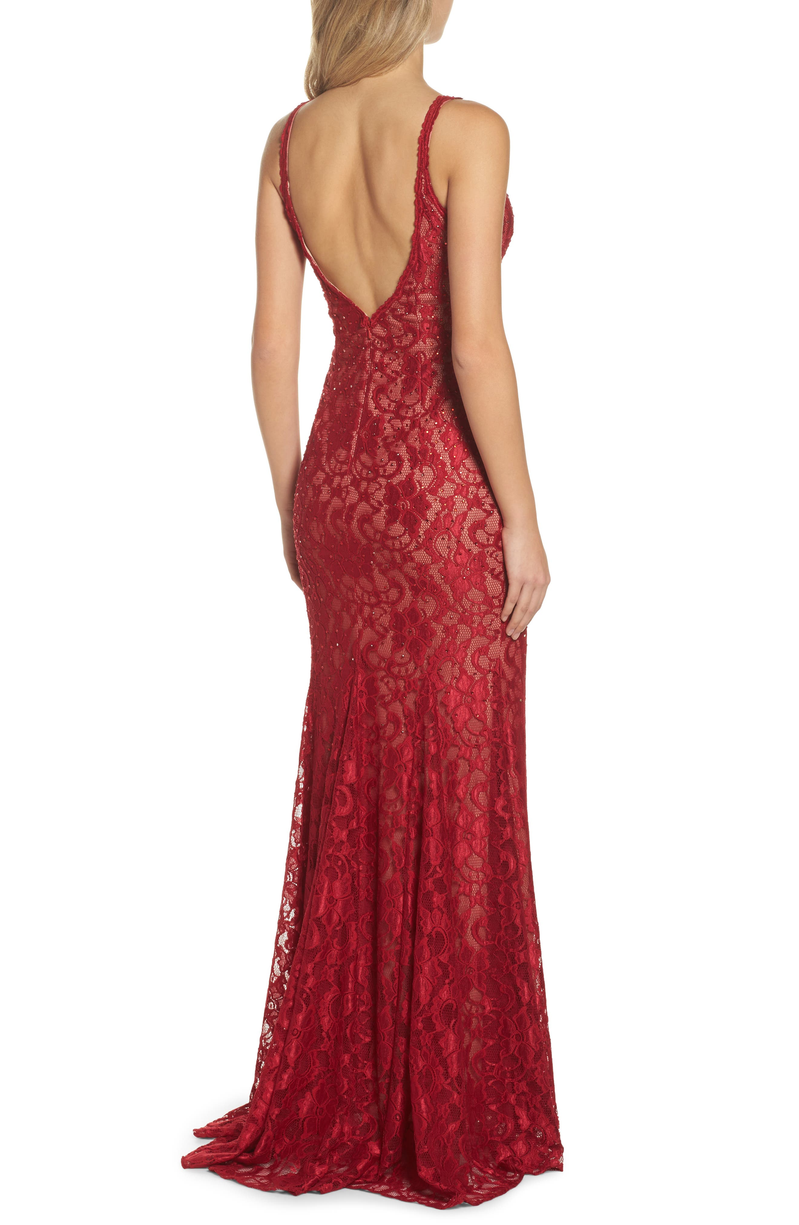 Plunging Beaded Lace Mermaid Gown,                             Alternate thumbnail 2, color,                             Red/ Tan