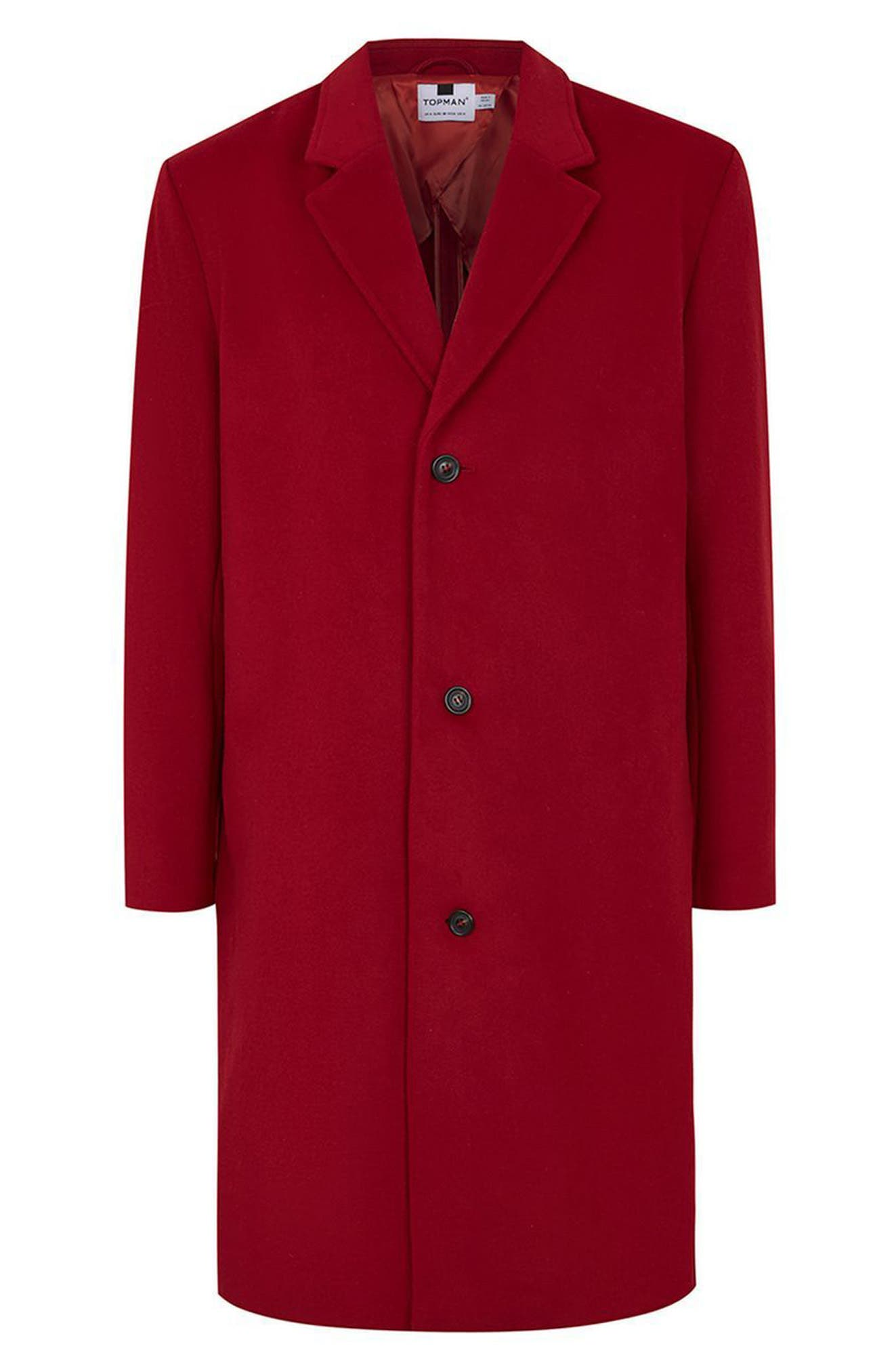 Oversized Single Breasted Coat,                             Alternate thumbnail 4, color,                             Red
