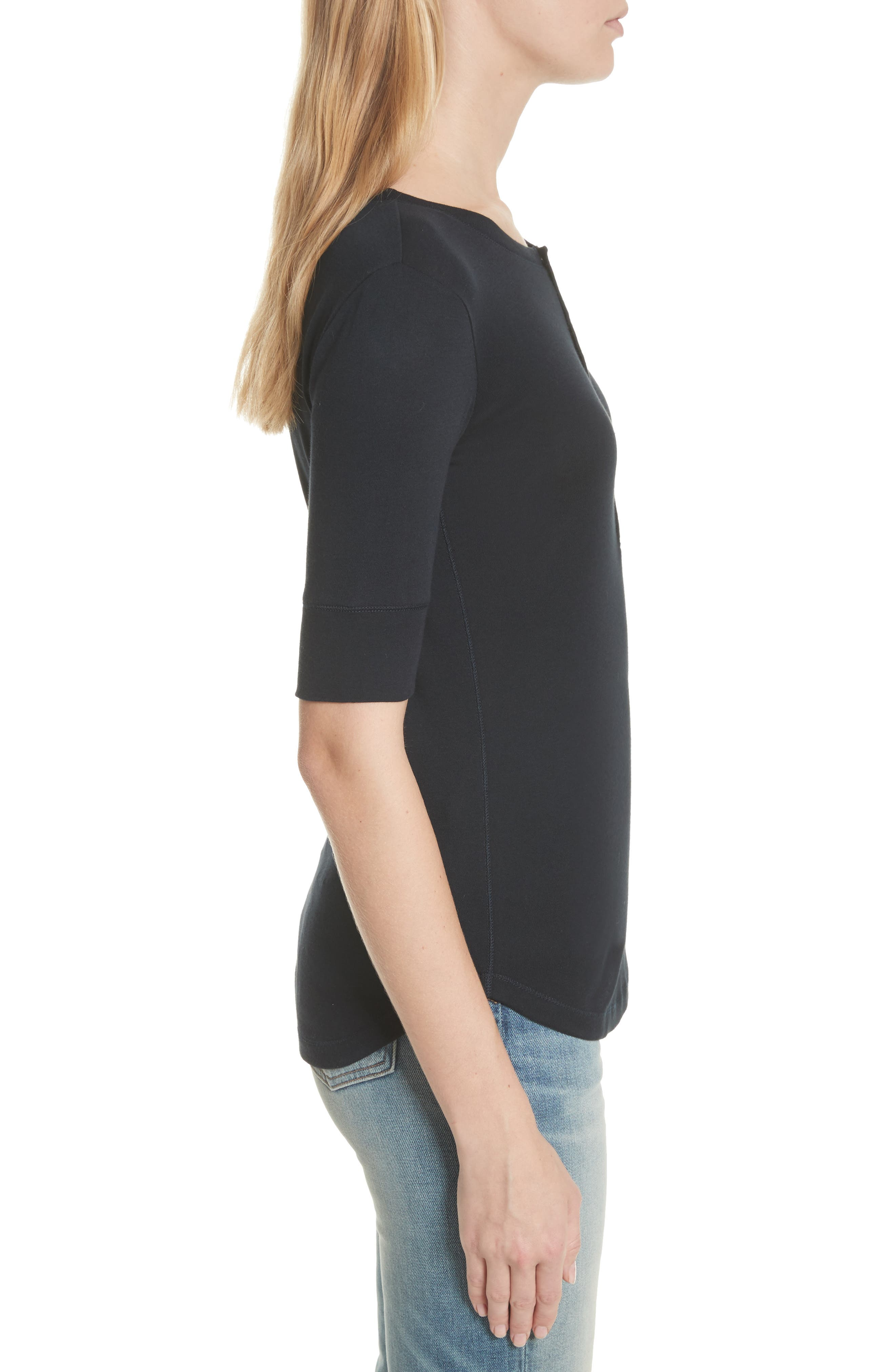 Alternate Image 3  - Vince Elbow Sleeve Henley Cotton Top