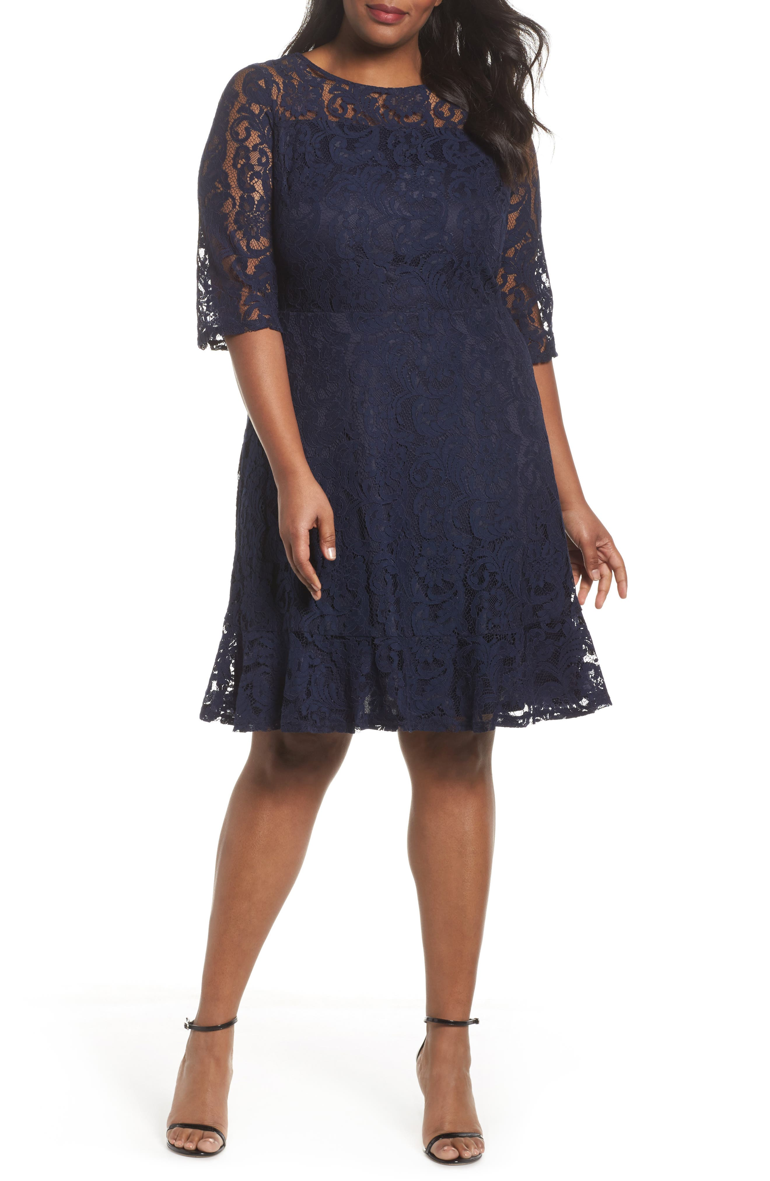 Fit & Flare Lace Dress,                         Main,                         color, Navy