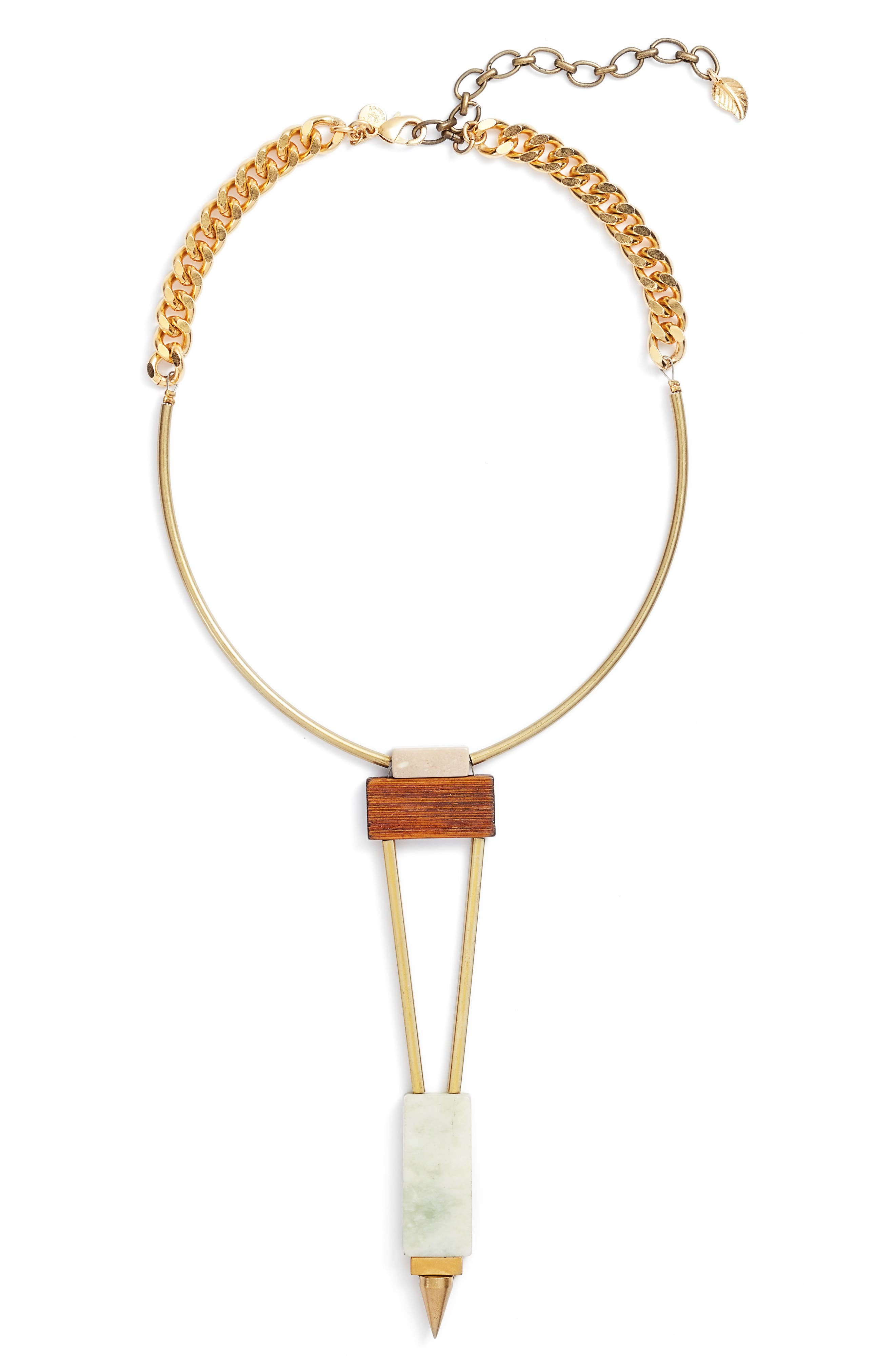 Odele Wood Statement Necklace,                             Main thumbnail 1, color,                             Green/ Gold