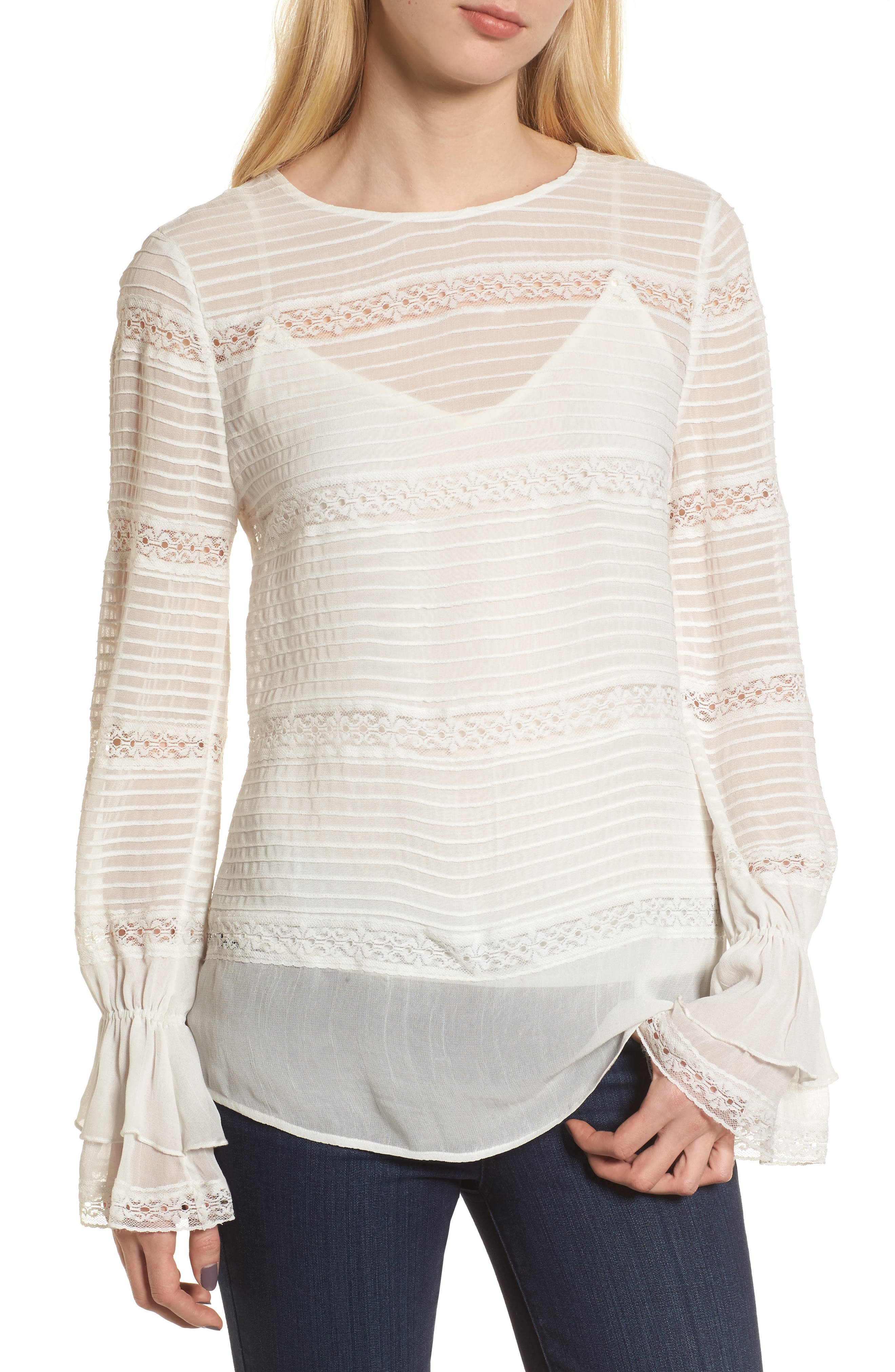 Pintuck & Lace Top,                         Main,                         color, Ivory Cloud