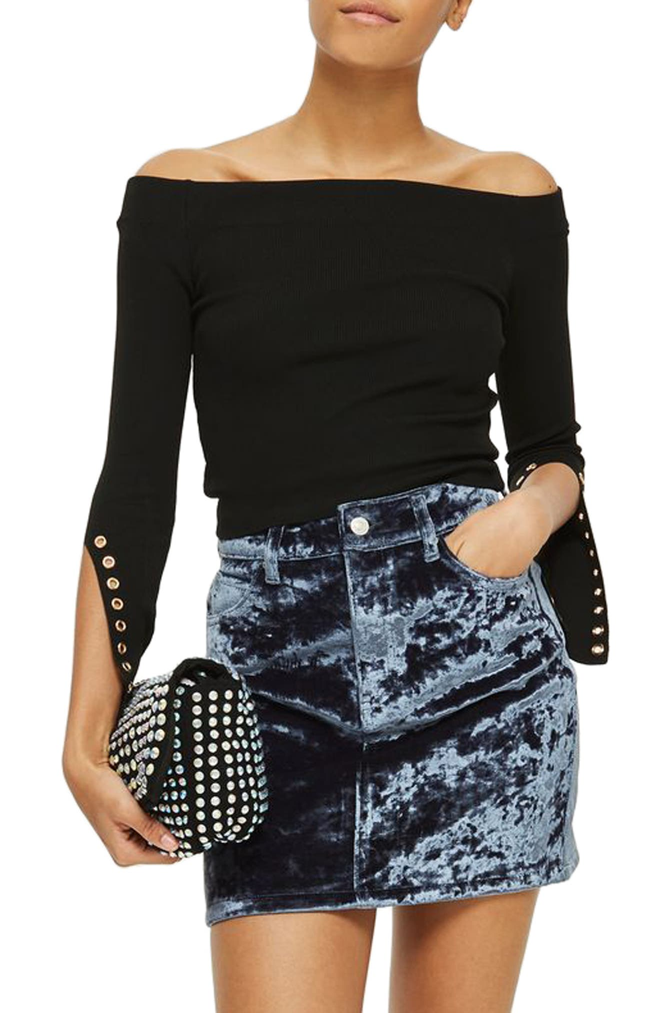 Eyelet Cuff Off the Shoulder Sweater,                             Main thumbnail 1, color,                             Black