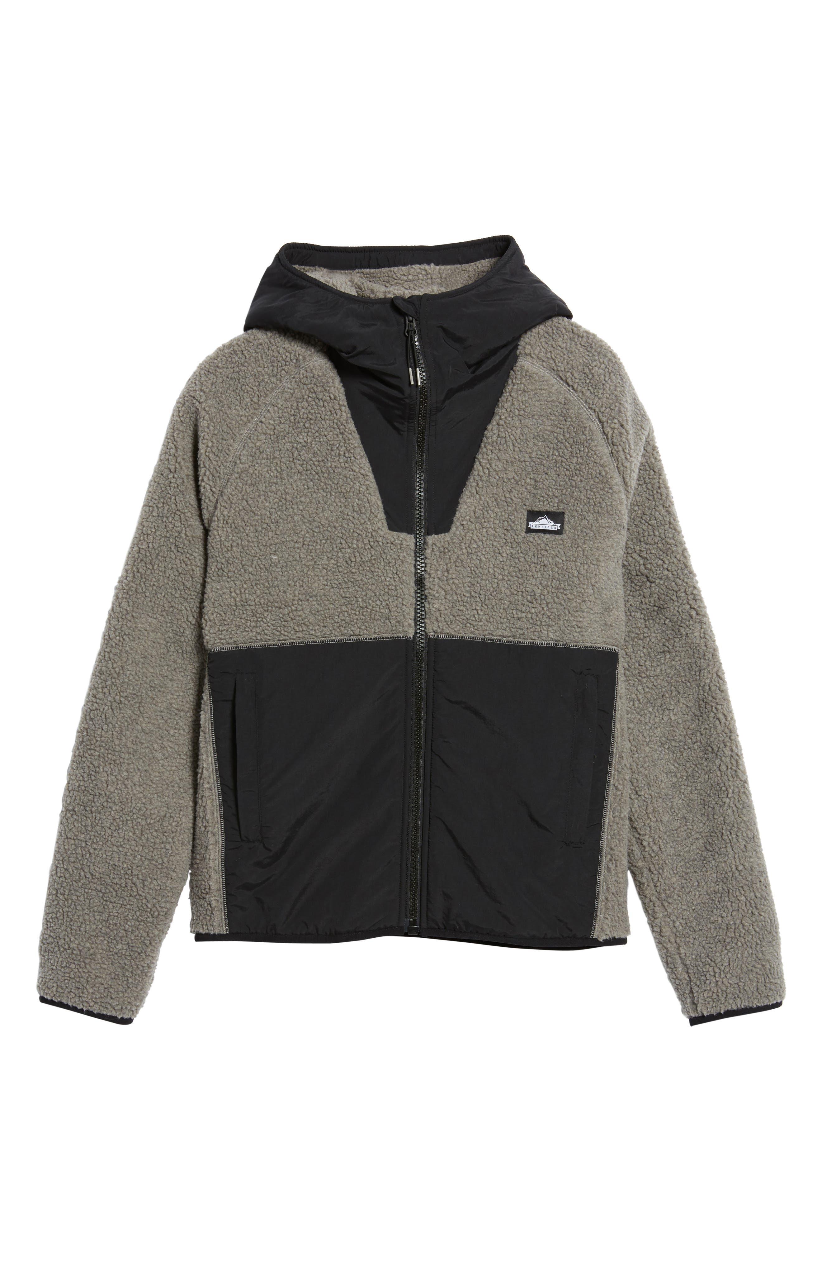 Vaughn Hooded Fleece Jacket,                             Alternate thumbnail 5, color,                             Grey