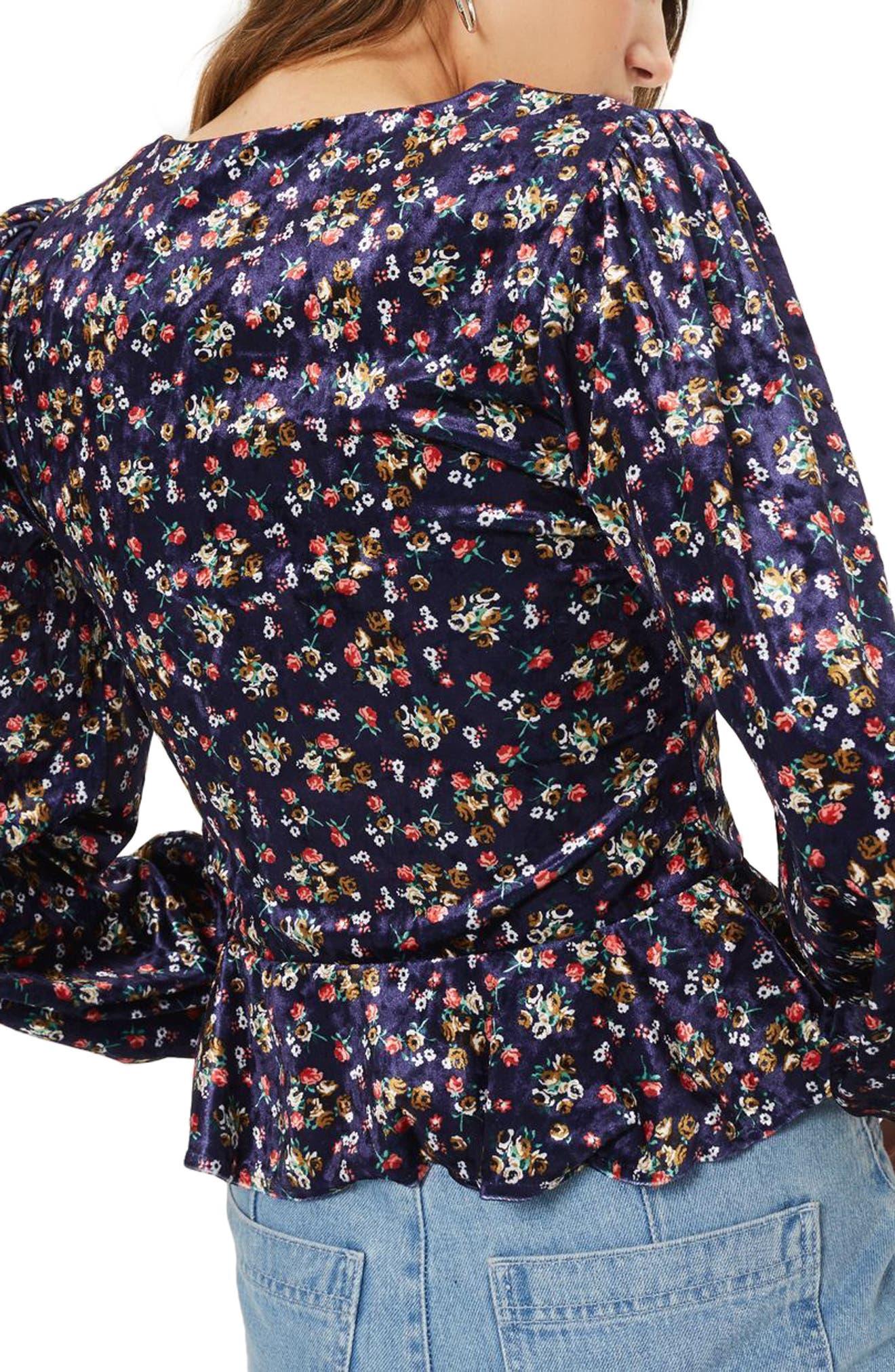 Alternate Image 2  - Topshop Floral Velvet Hook-and-Eye Top
