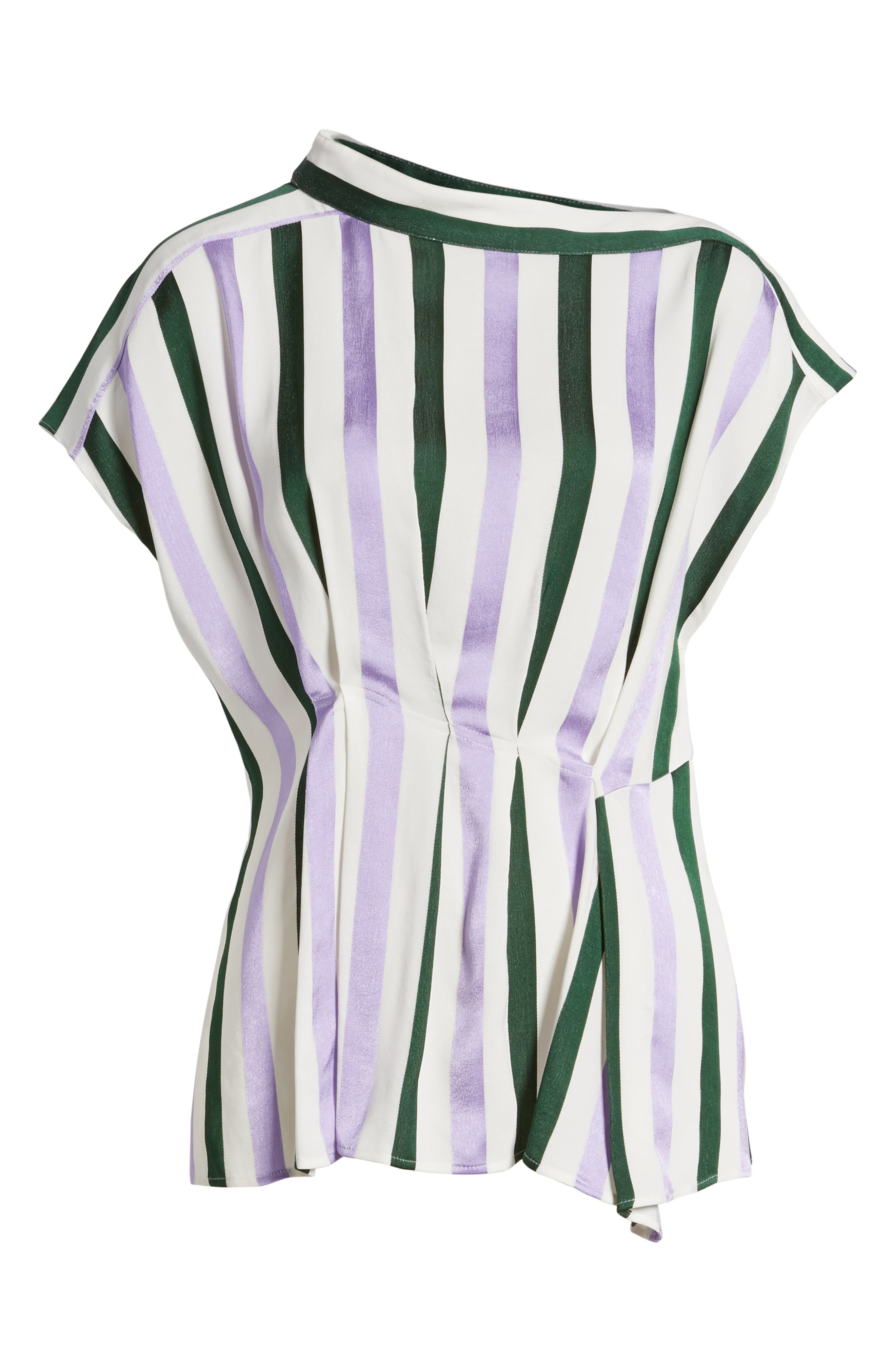 Alternate Image 6  - Lewit Stripe Draped Peplum Top