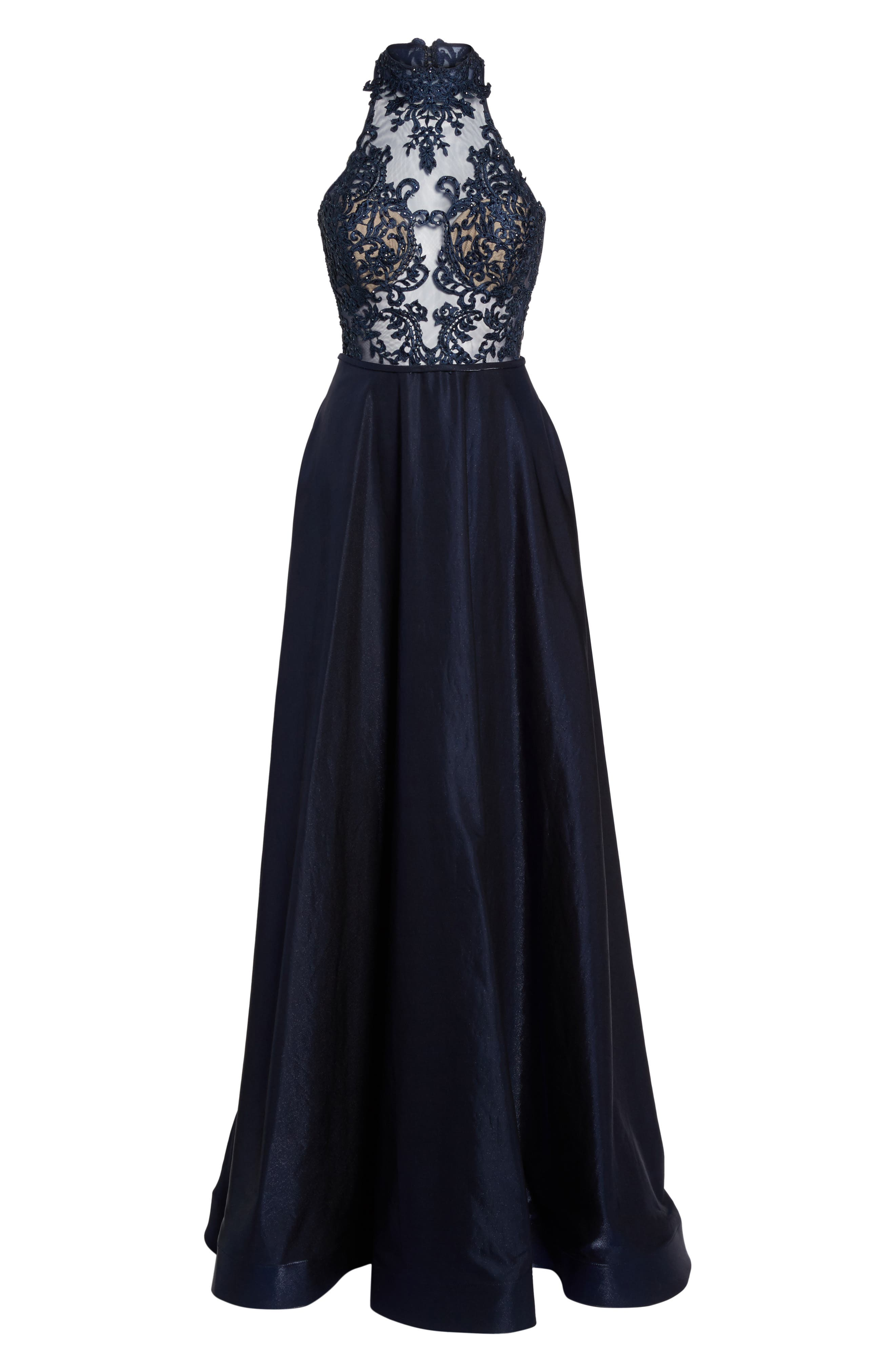 Embroidered Lace & Satin A-Line Ballgown,                             Alternate thumbnail 6, color,                             Navy