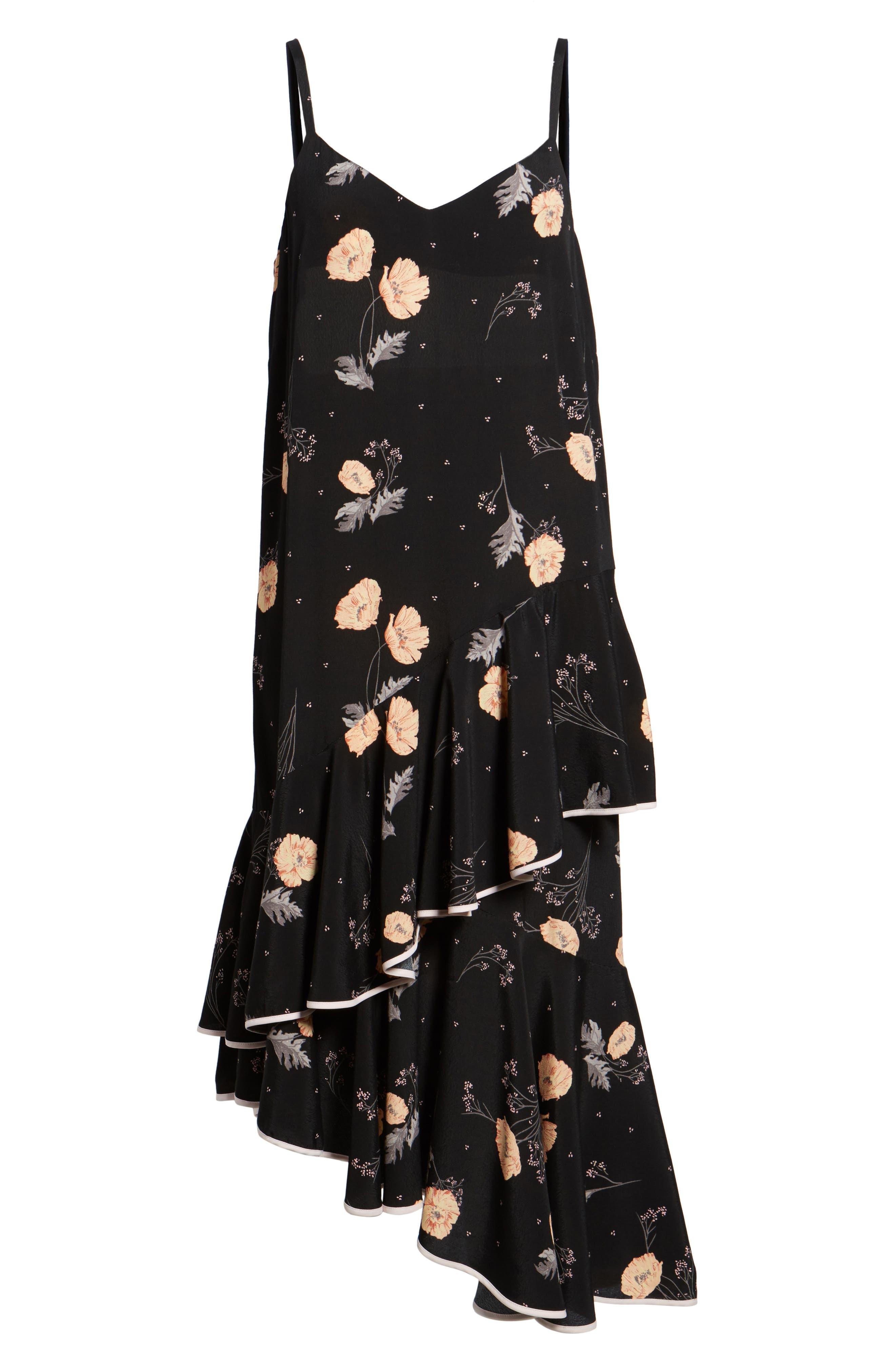 Asymmetrical Ruffle Midi Dress,                             Alternate thumbnail 6, color,                             Black Spring Bloom