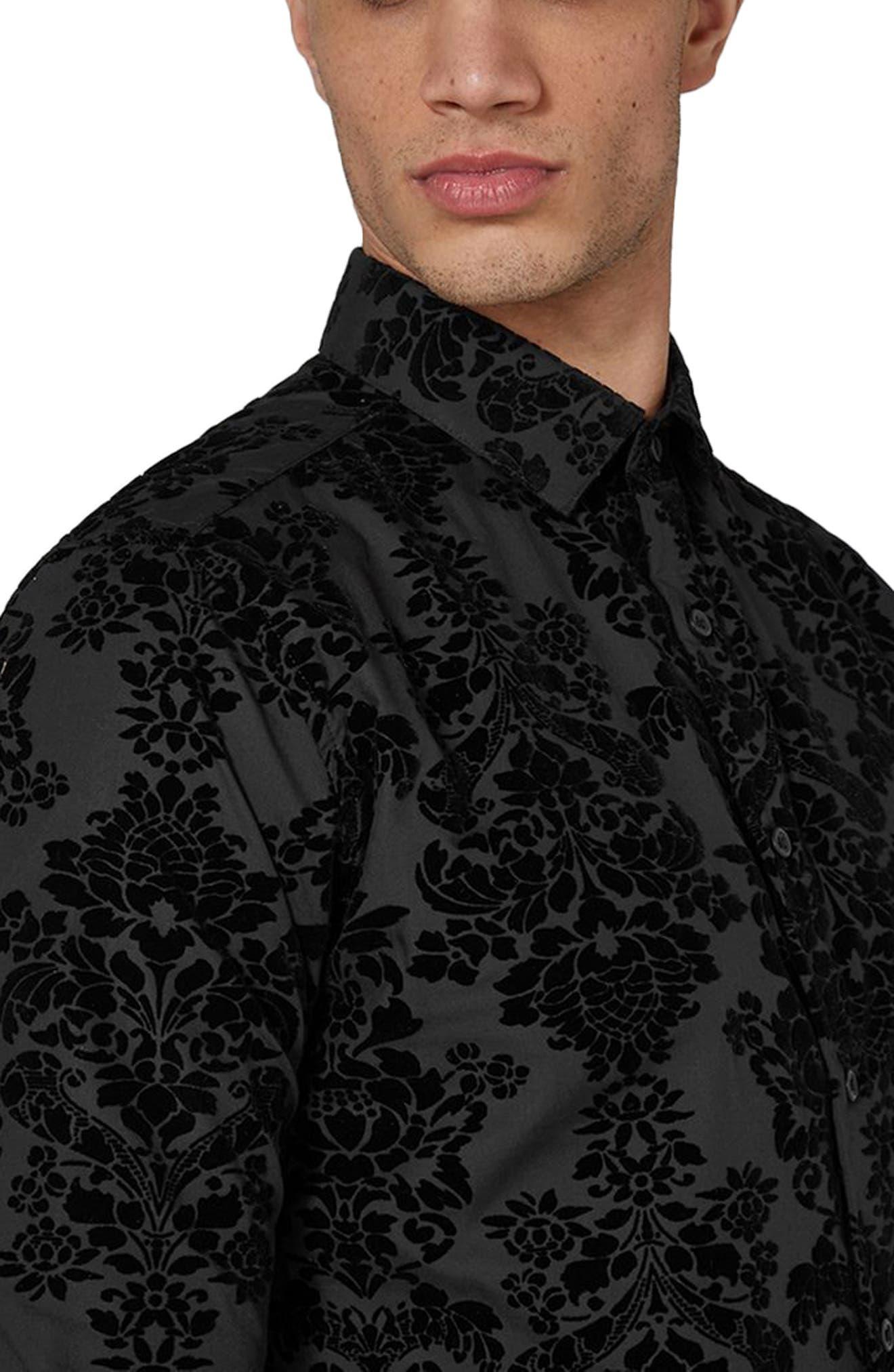 Slim Fit Flocked Shirt,                             Alternate thumbnail 3, color,                             Black