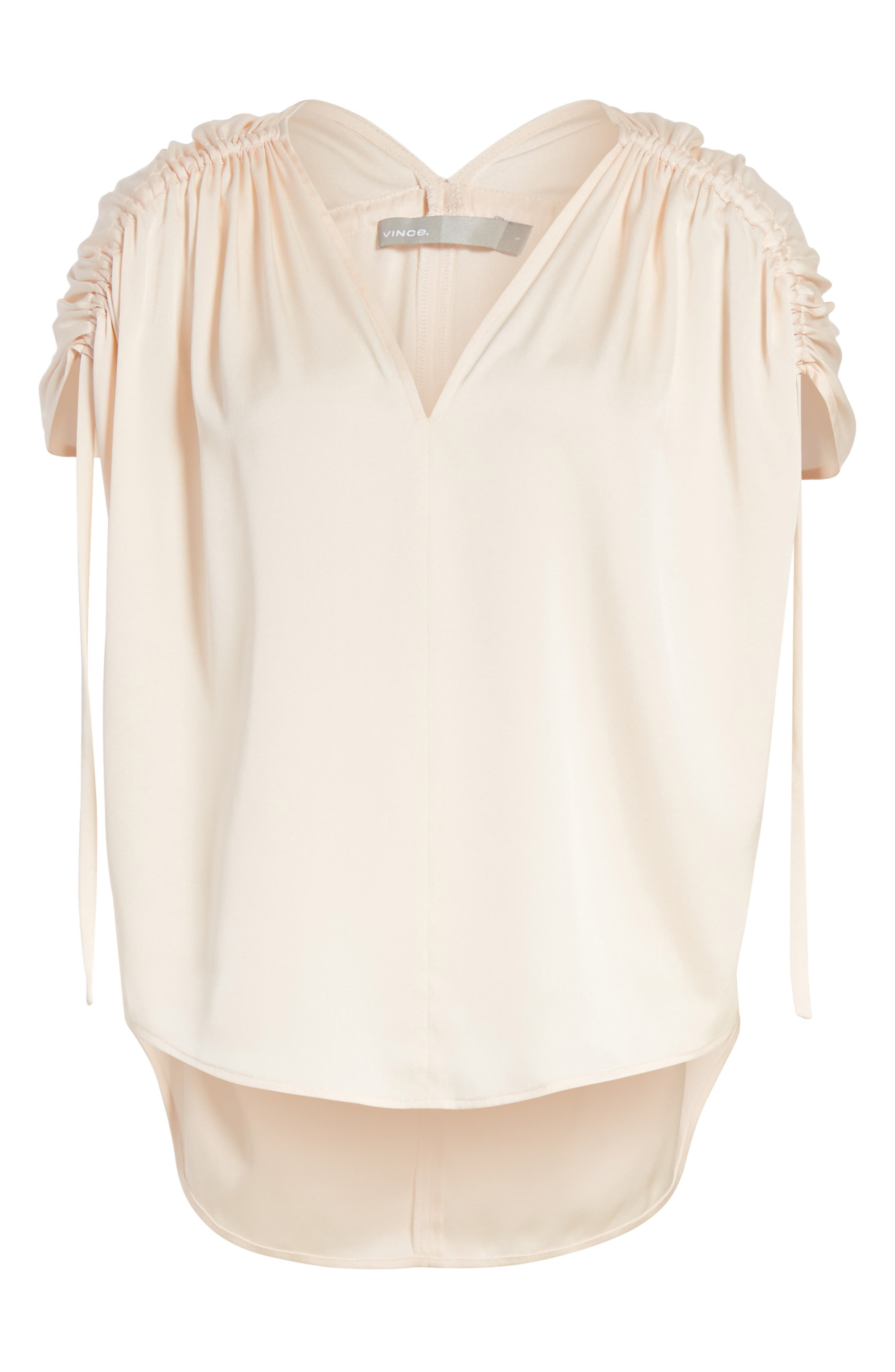Ruched Silk Top,                             Alternate thumbnail 6, color,                             Rosewater