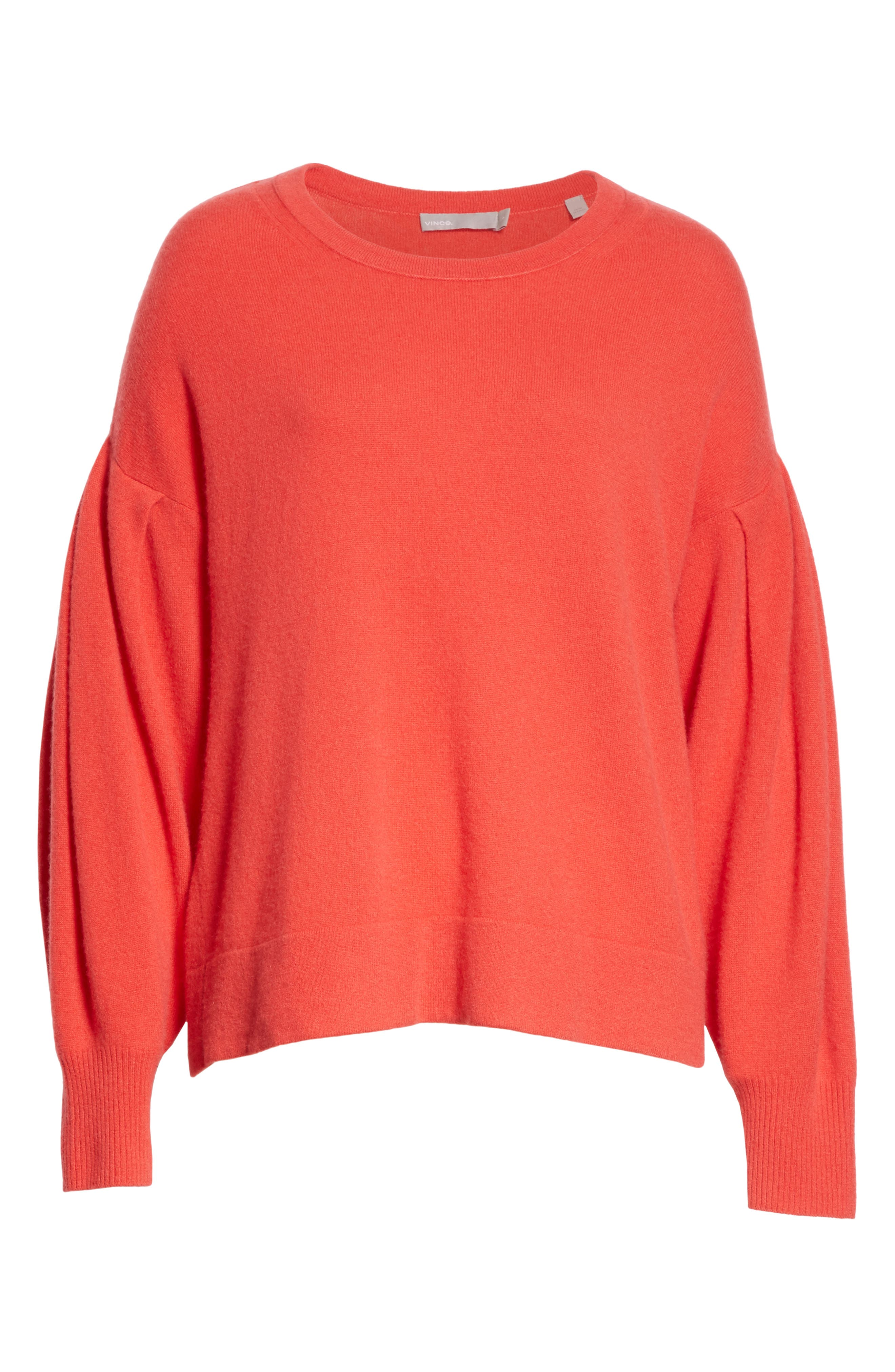 Pleat Sleeve Cashmere Sweater,                             Alternate thumbnail 8, color,                             Poppy