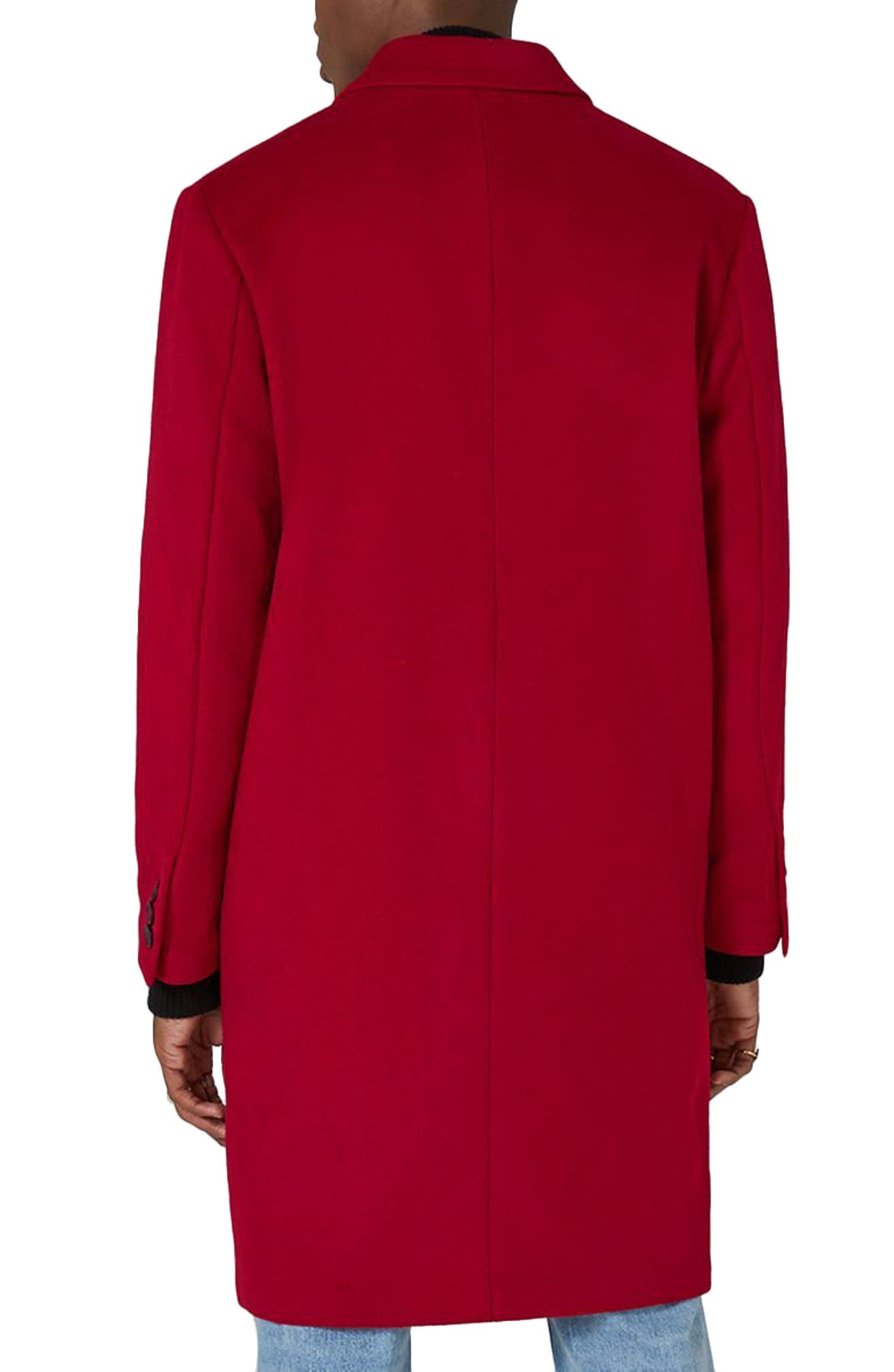 Oversized Single Breasted Coat,                             Alternate thumbnail 2, color,                             Red