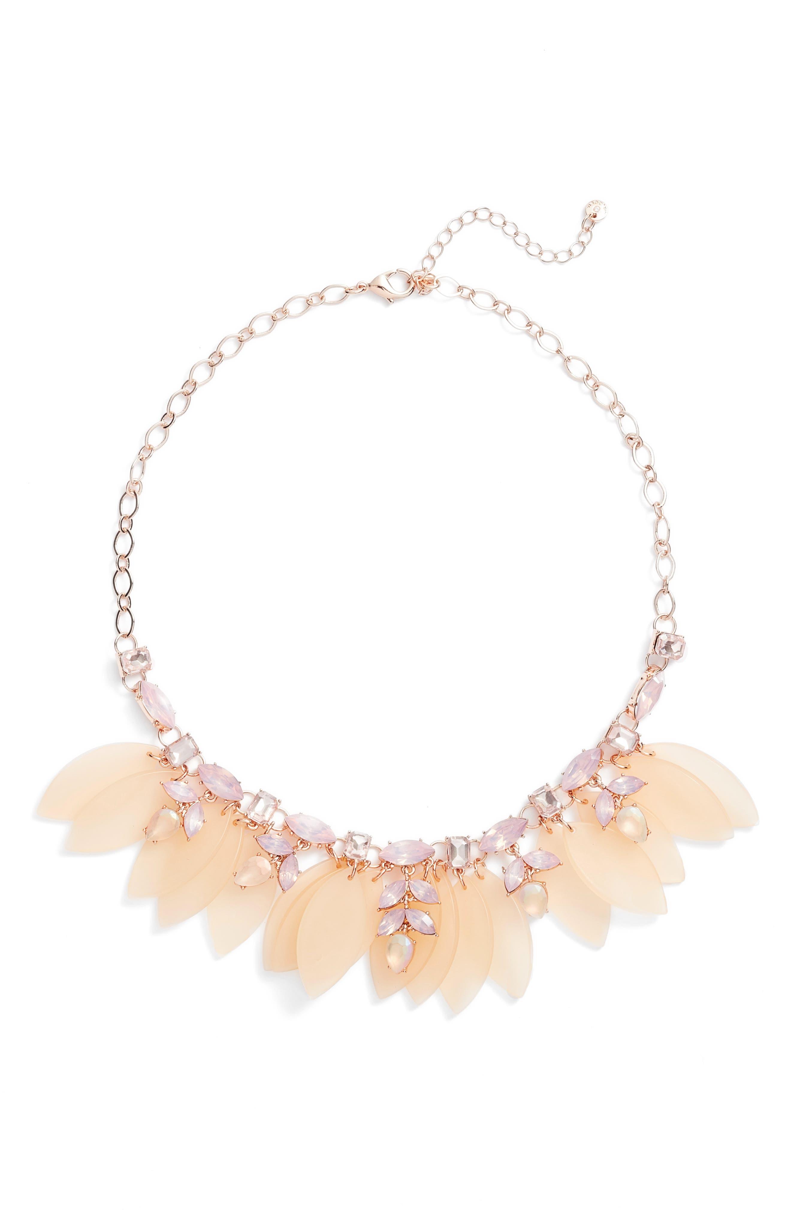 Petal & Stone Collar Necklace,                             Main thumbnail 1, color,                             Pink Multi- Rose Gold