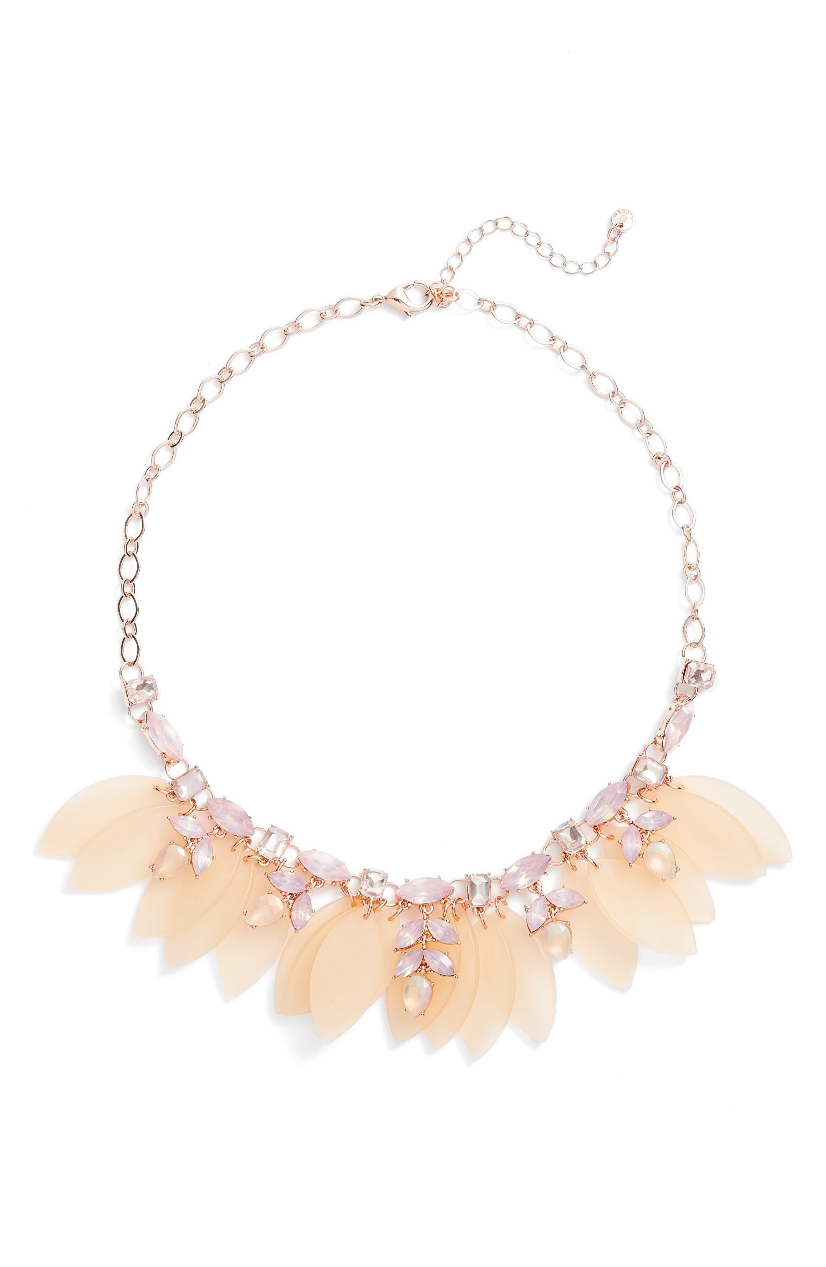 Petal & Stone Collar Necklace,                         Main,                         color, Pink Multi- Rose Gold
