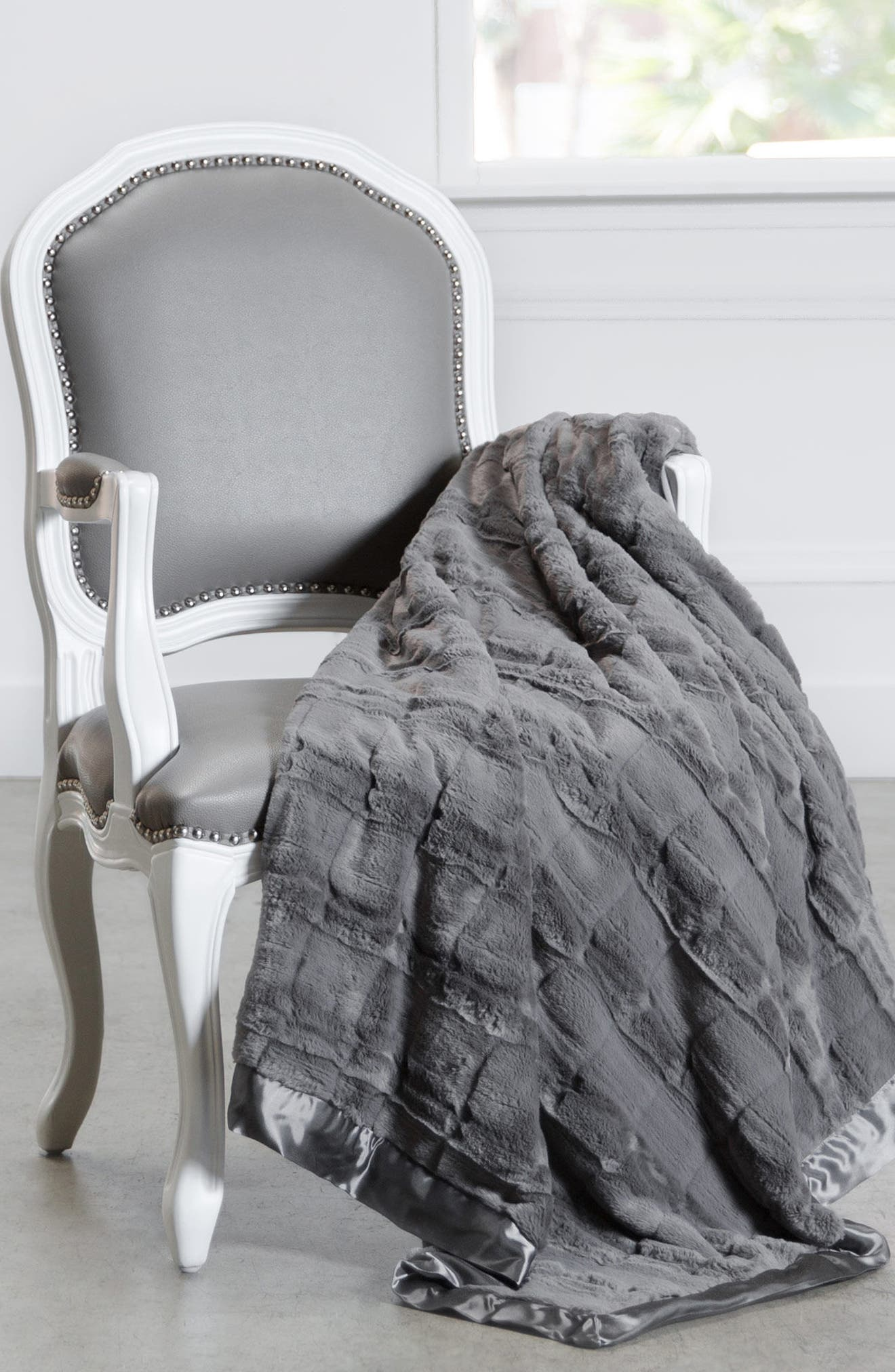 Luxe Waterfall Throw Blanket,                             Alternate thumbnail 2, color,                             Charcoal