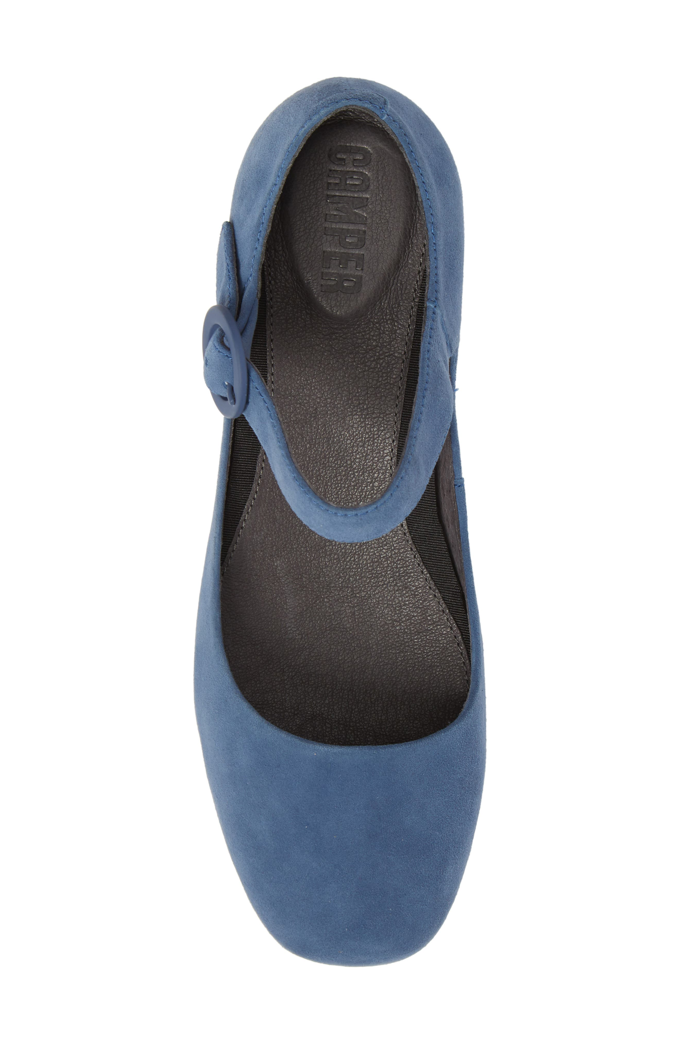 Serena Mary Jane Flat,                             Alternate thumbnail 5, color,                             Bright Blue Suede