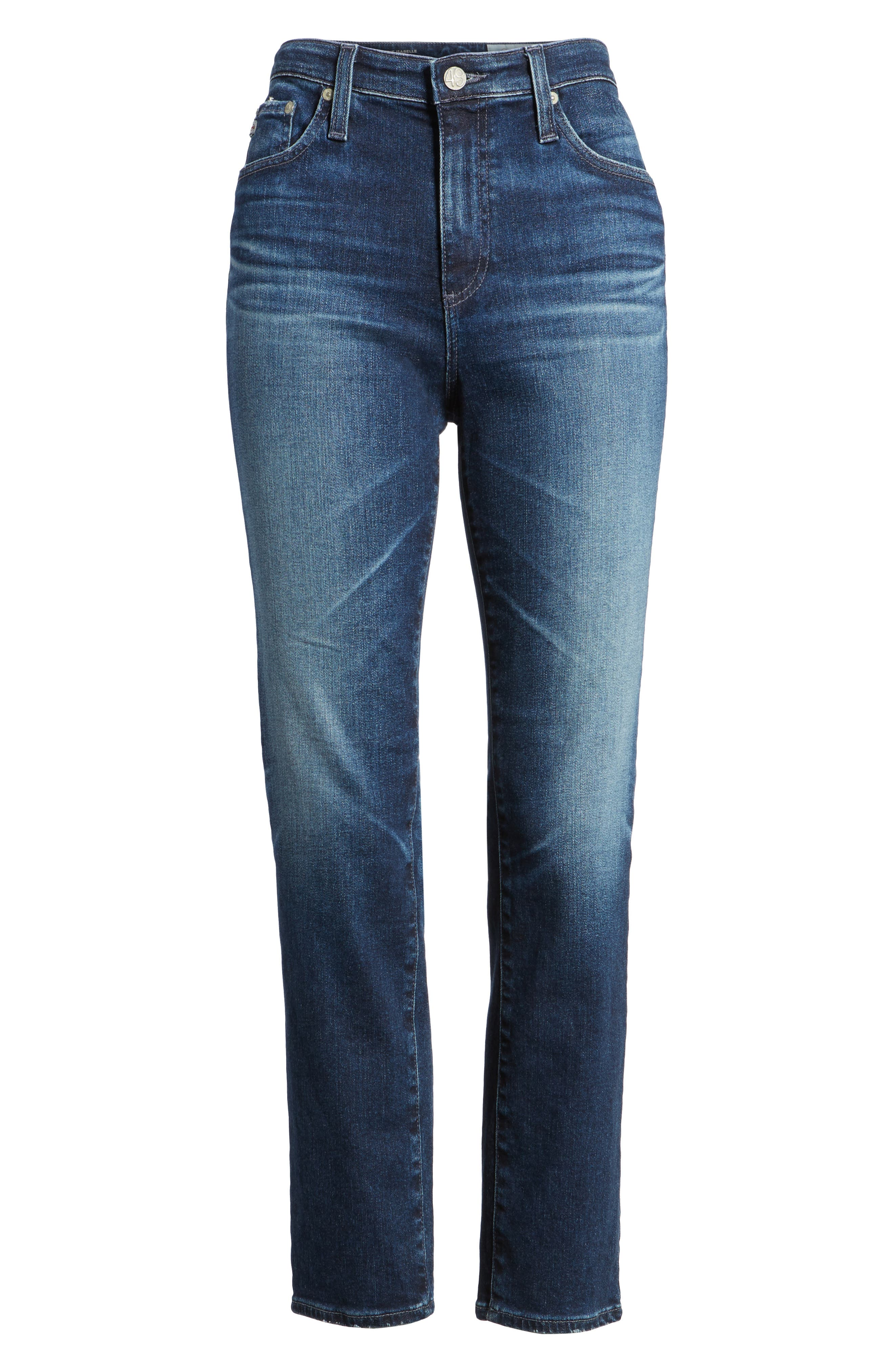 Alternate Image 6  - AG The Isabelle High Waist Crop Straight Leg Jeans (8 Years Ocean Tropic)