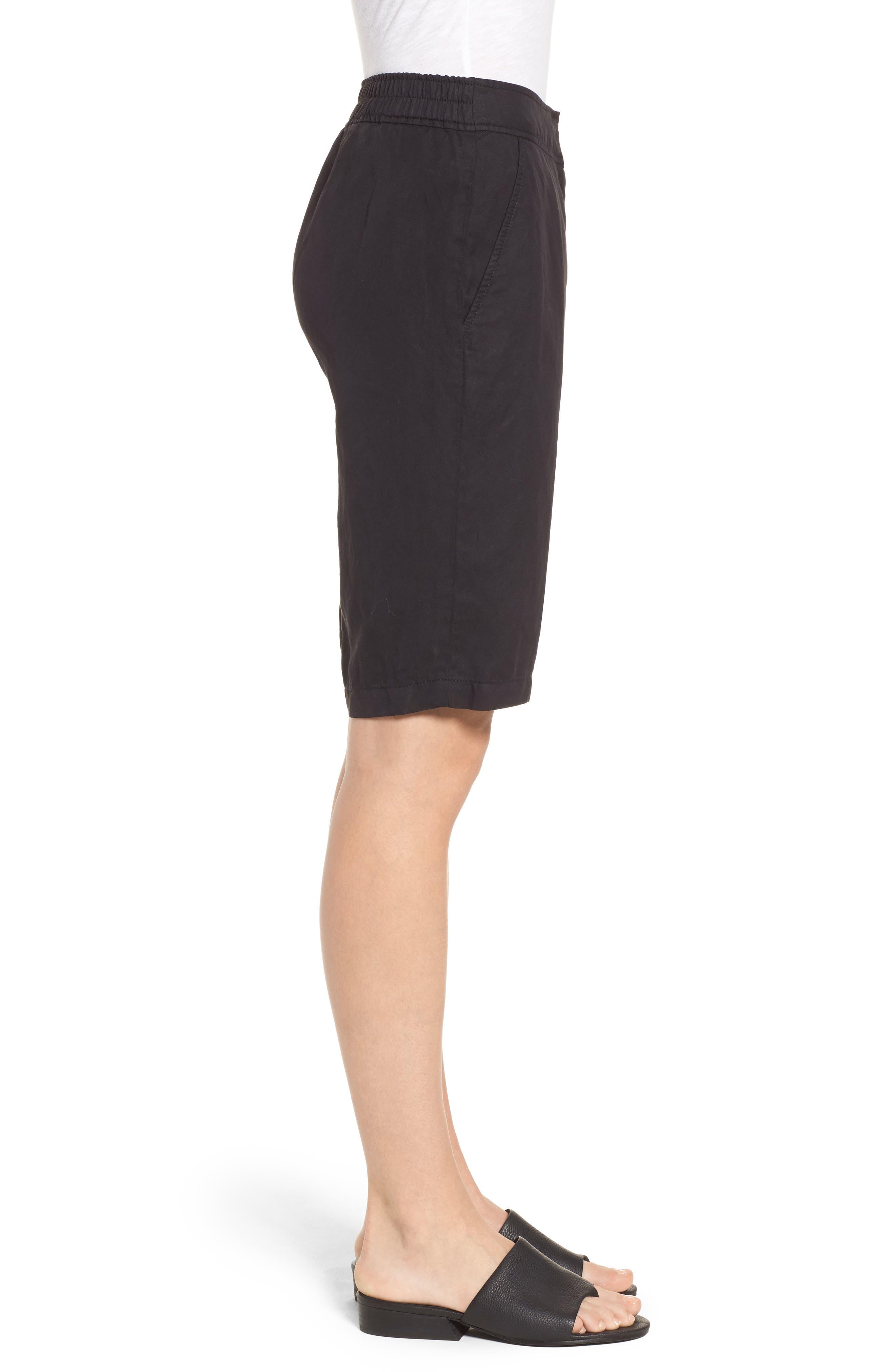 Tencel<sup>®</sup> Lyocell & Linen Walking Shorts,                             Alternate thumbnail 3, color,                             Black