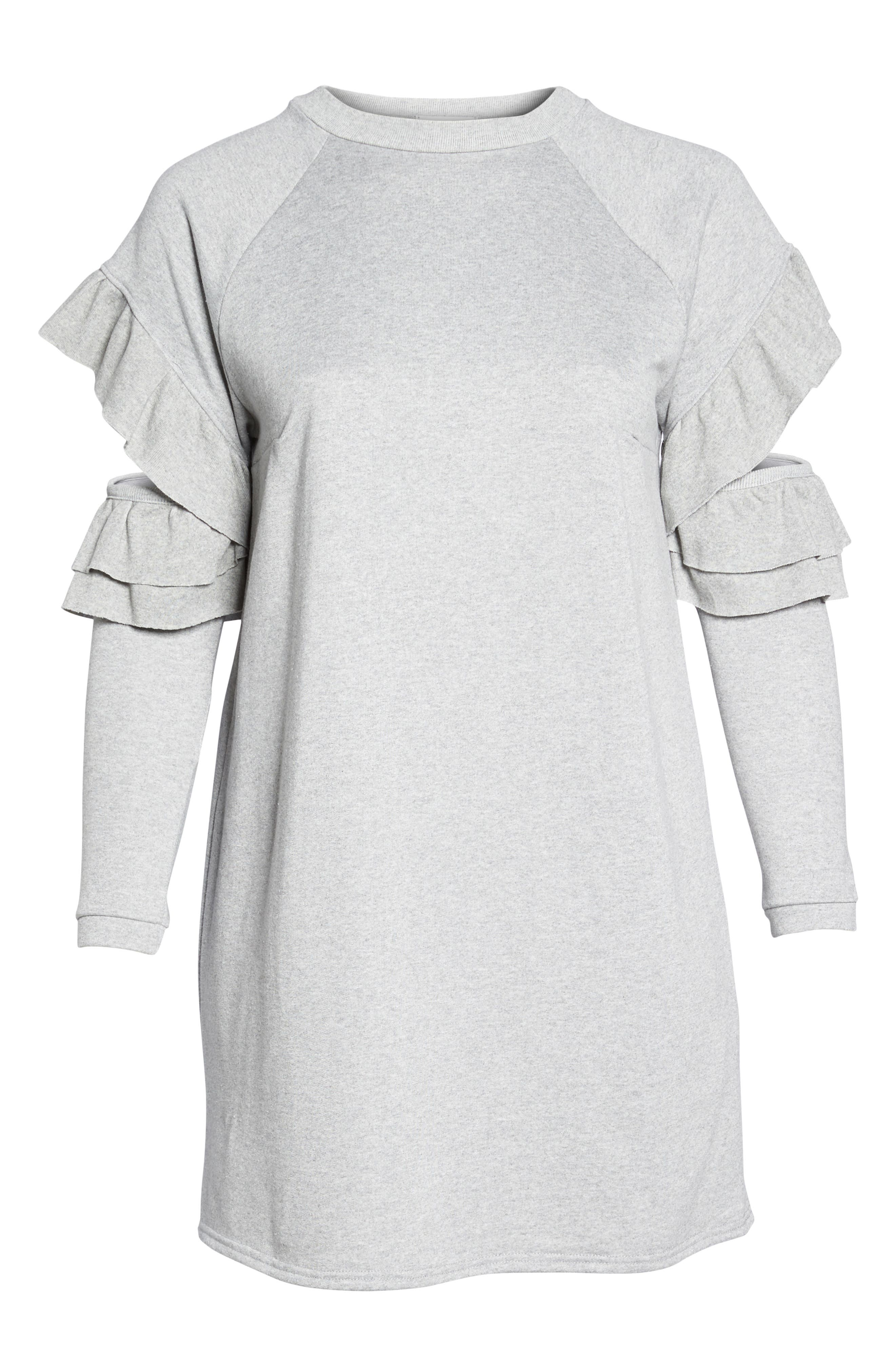 Ruffle Sleeve French Terry Dress,                             Alternate thumbnail 6, color,                             Light Grey