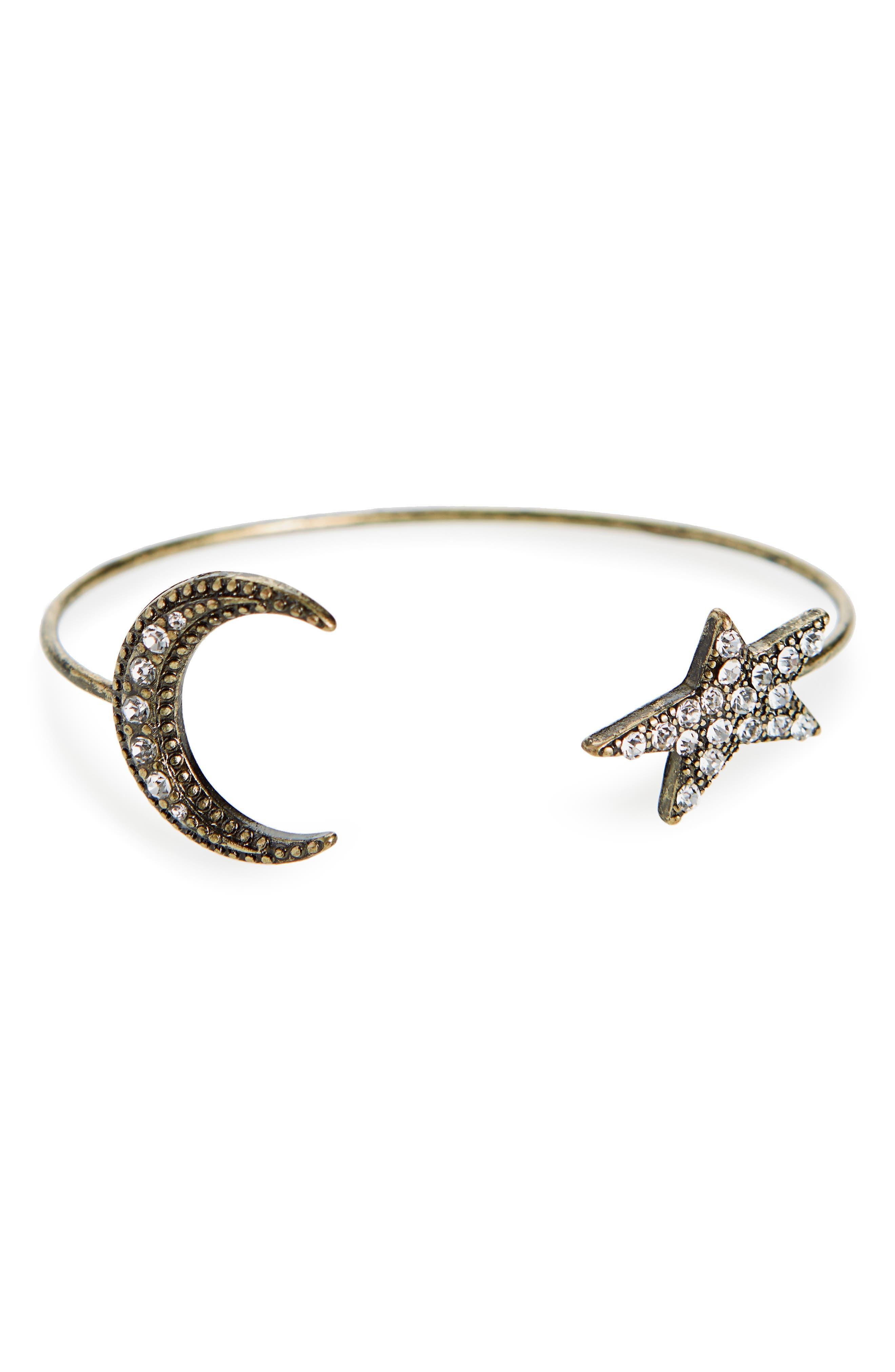 Star & Moon Crystal Cuff,                             Main thumbnail 1, color,                             Gold