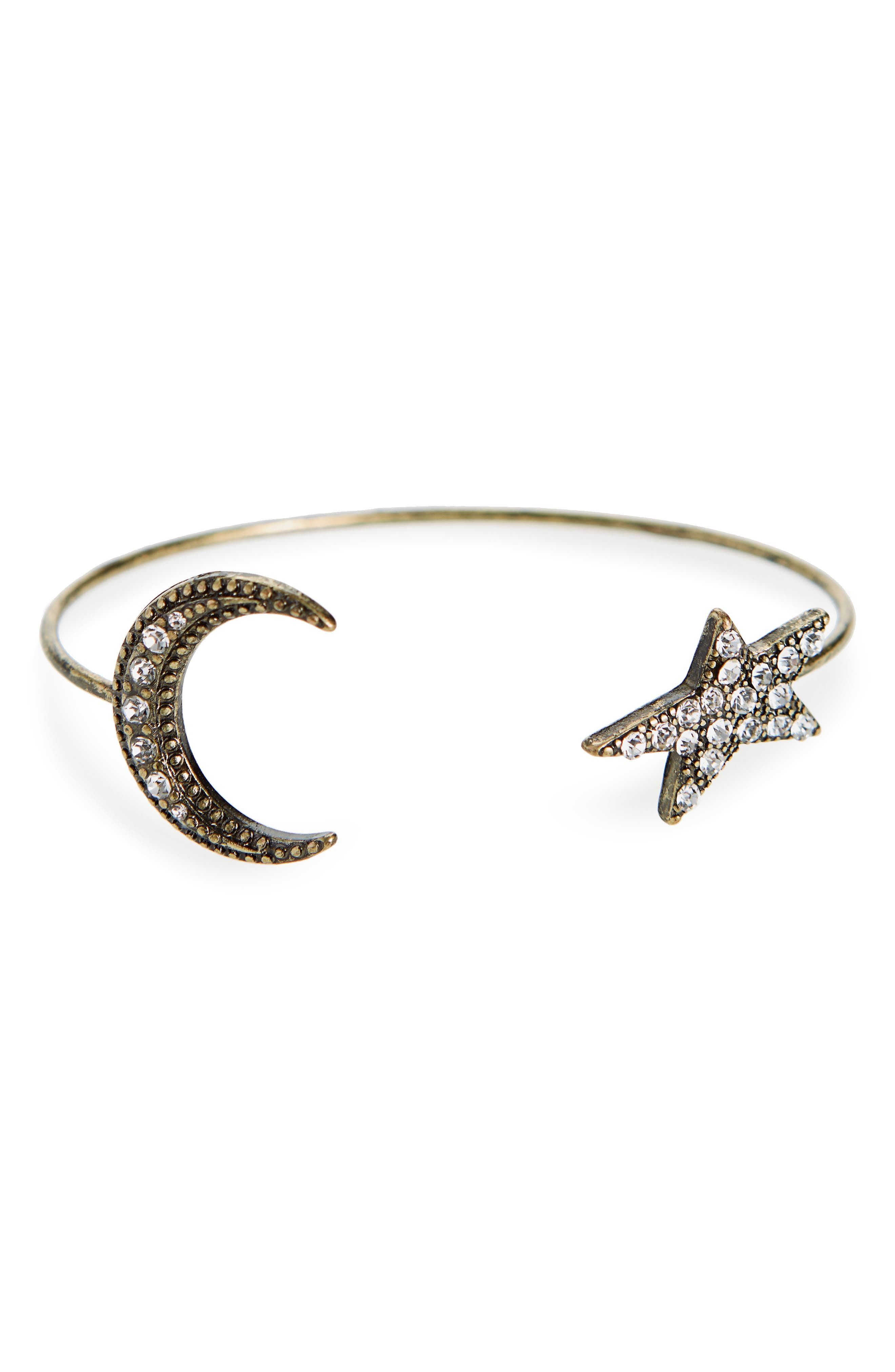 Star & Moon Crystal Cuff,                         Main,                         color, Gold