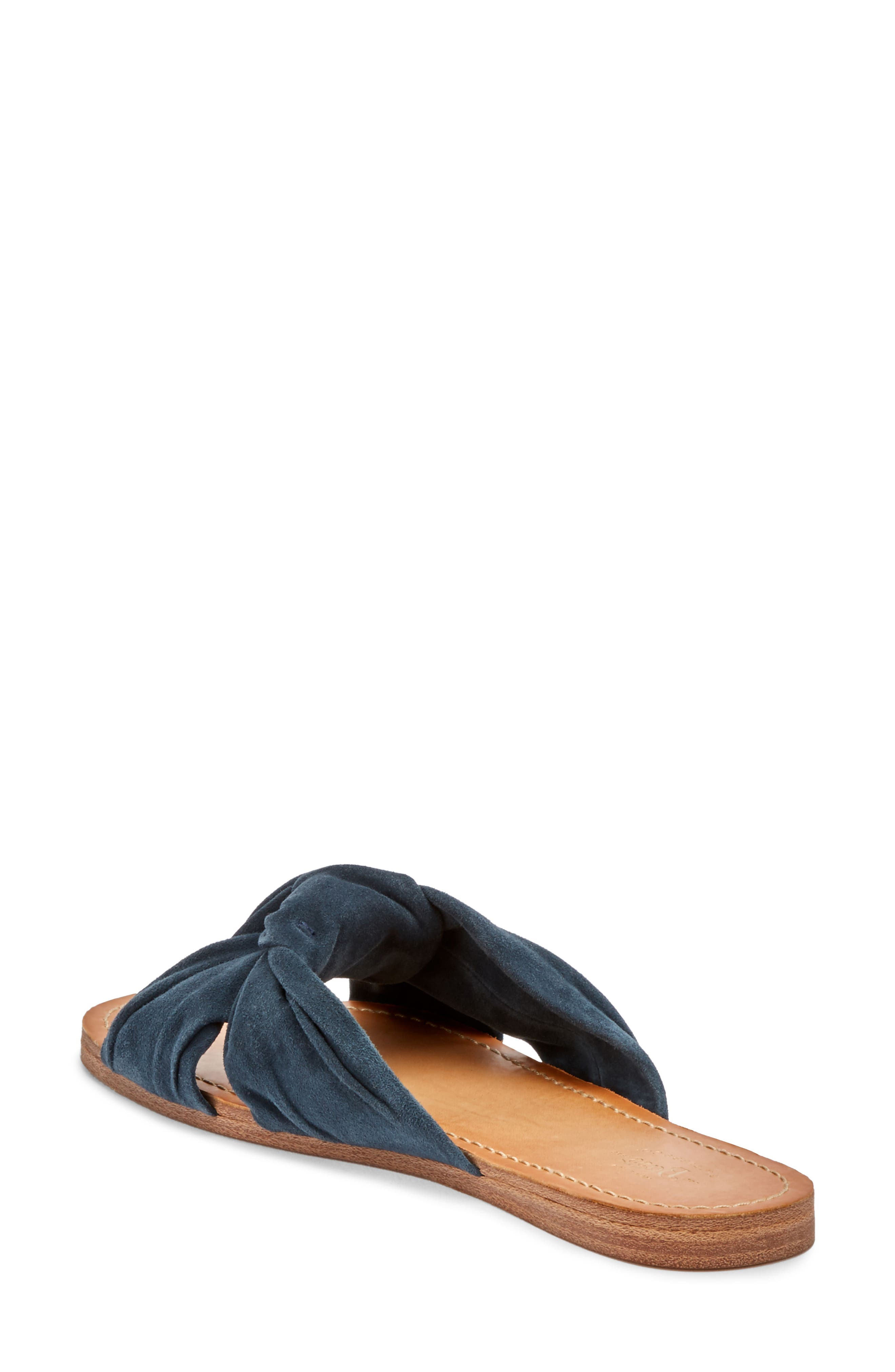 Sophie Knotted Bow Sandal,                             Alternate thumbnail 2, color,                             Navy Suede