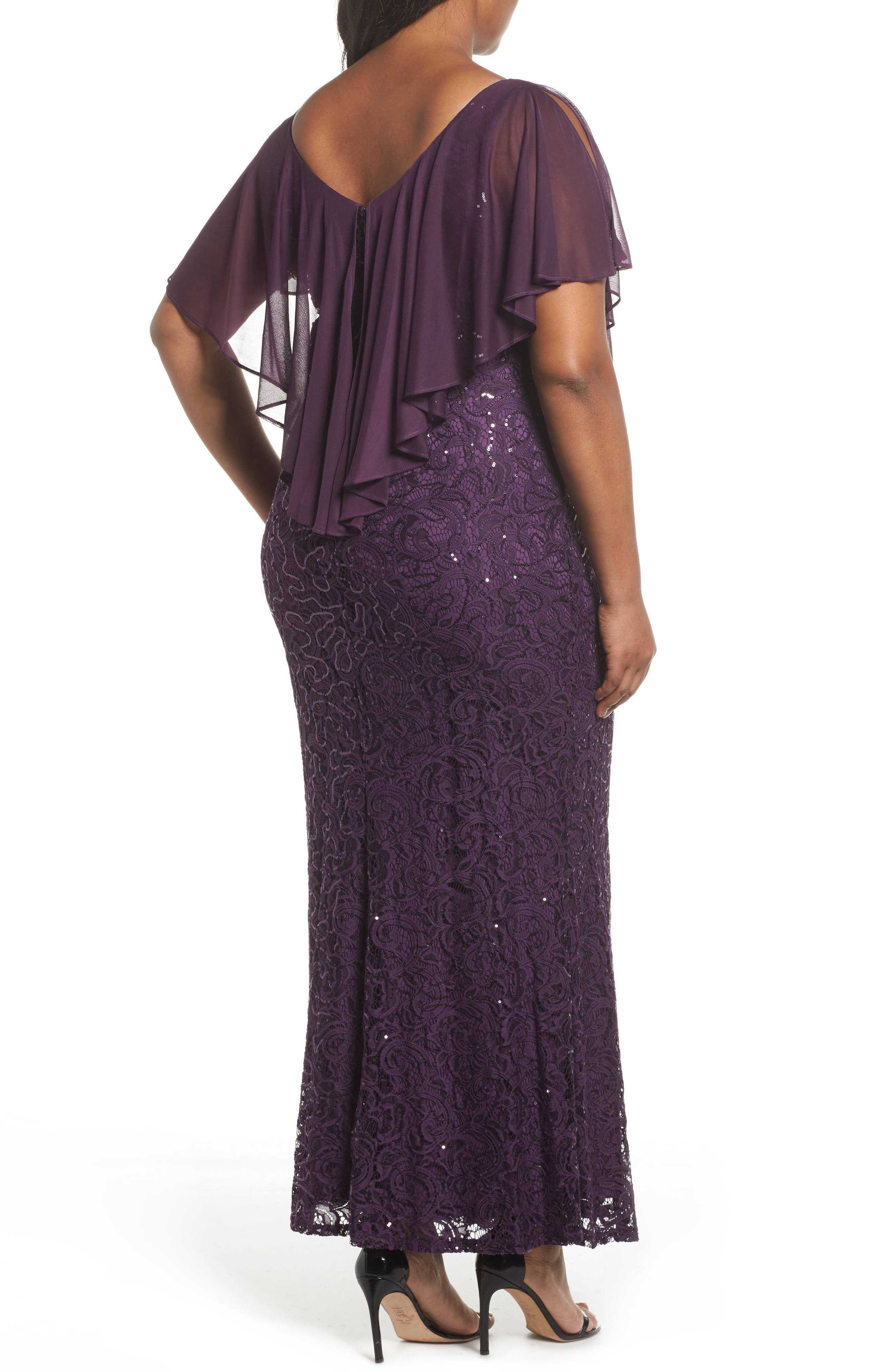 Alternate Image 2  - Marina Capelet Sequin Lace A-Line Gown (Plus Size)