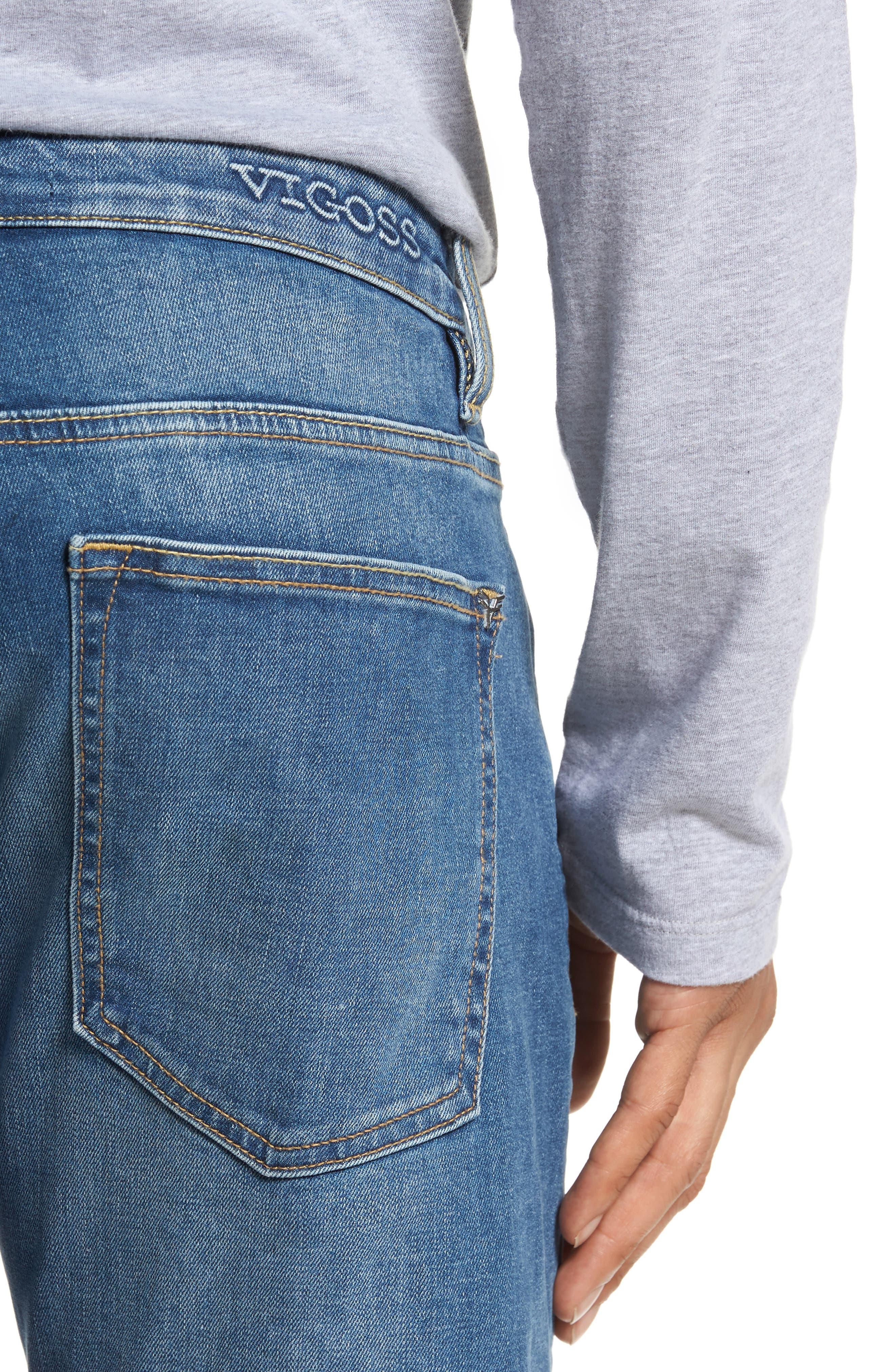 Slim Straight Leg Jeans,                             Alternate thumbnail 4, color,                             Light Wash