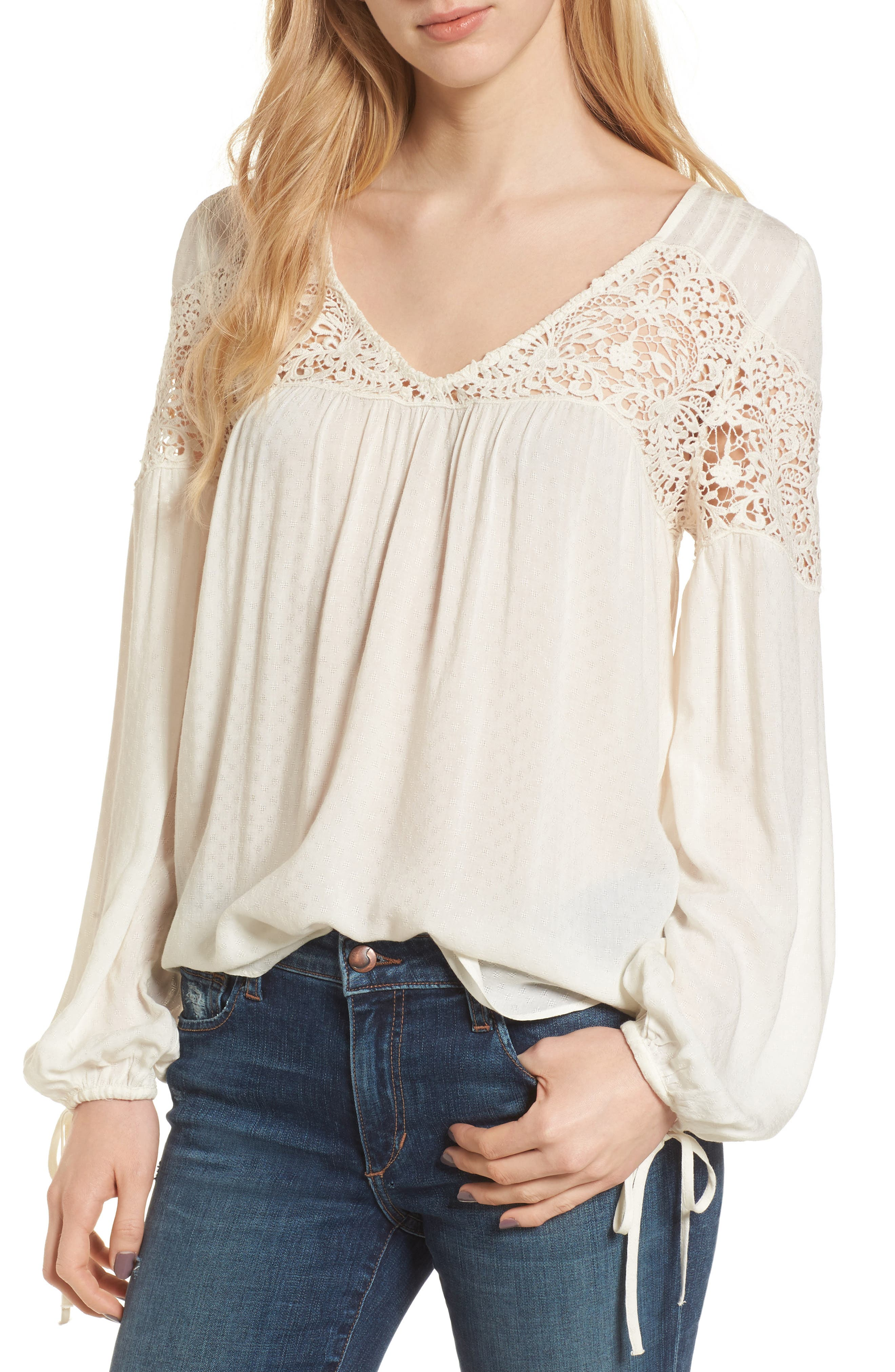 Lace Yoke Top,                         Main,                         color, Ivory