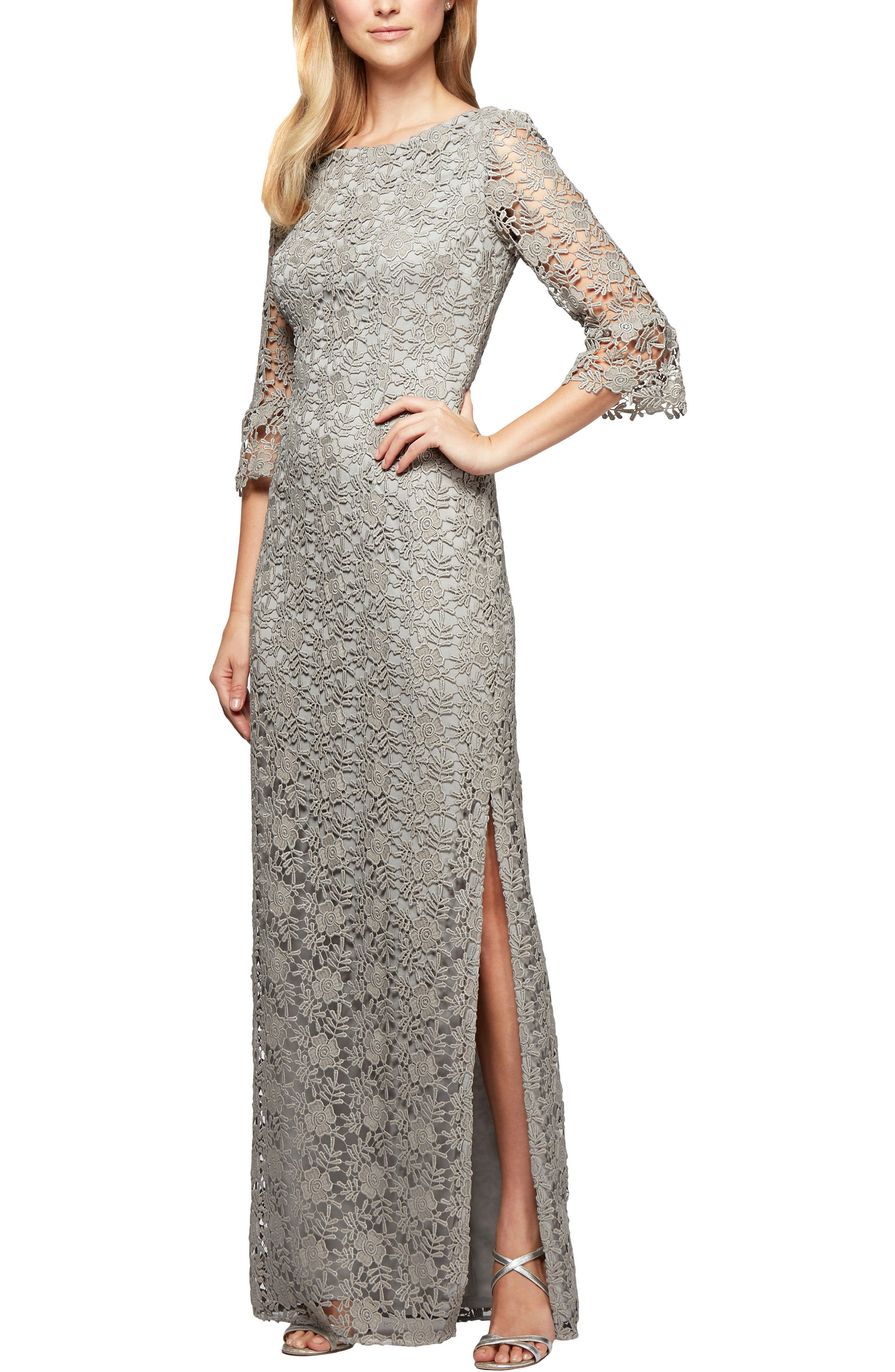 Embroidered Lace Gown,                         Main,                         color, Grey