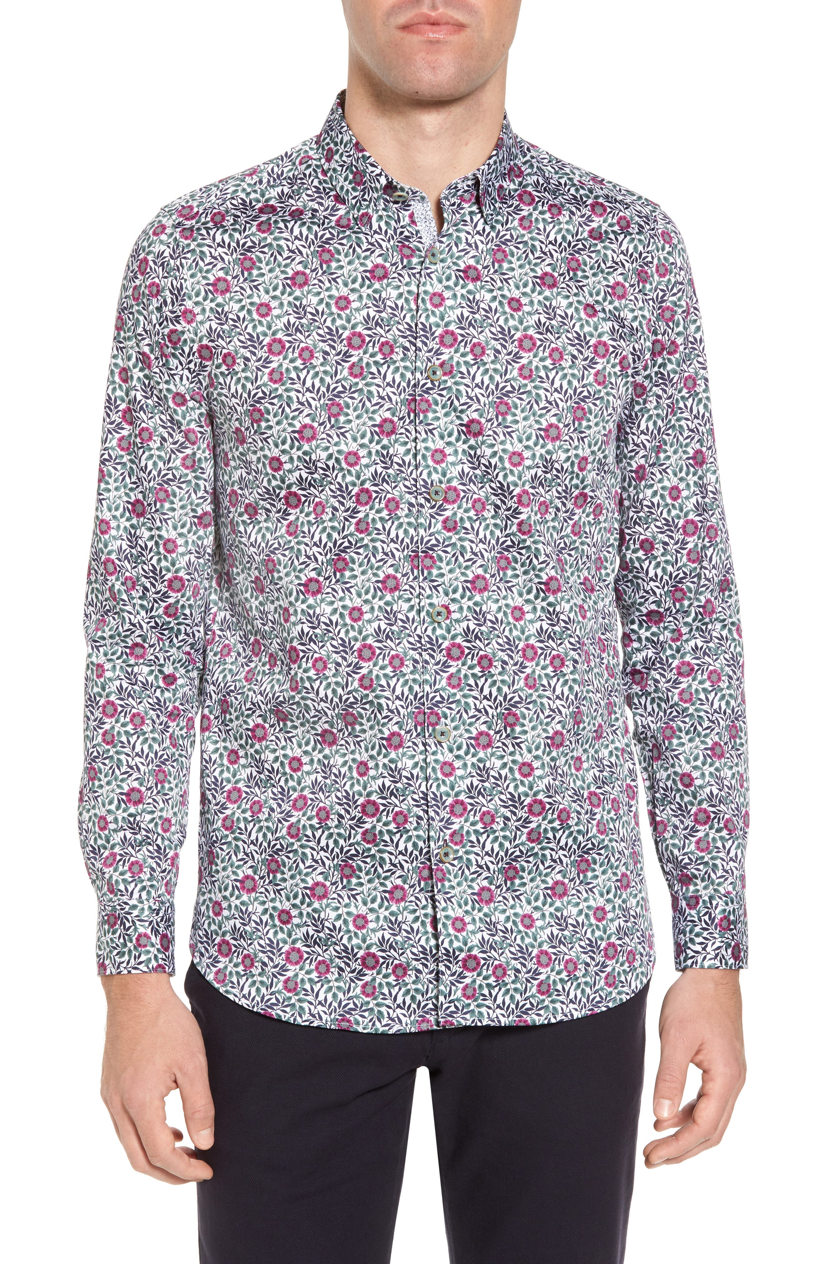 Orense Floral Print Slim Fit Shirt,                         Main,                         color, Green