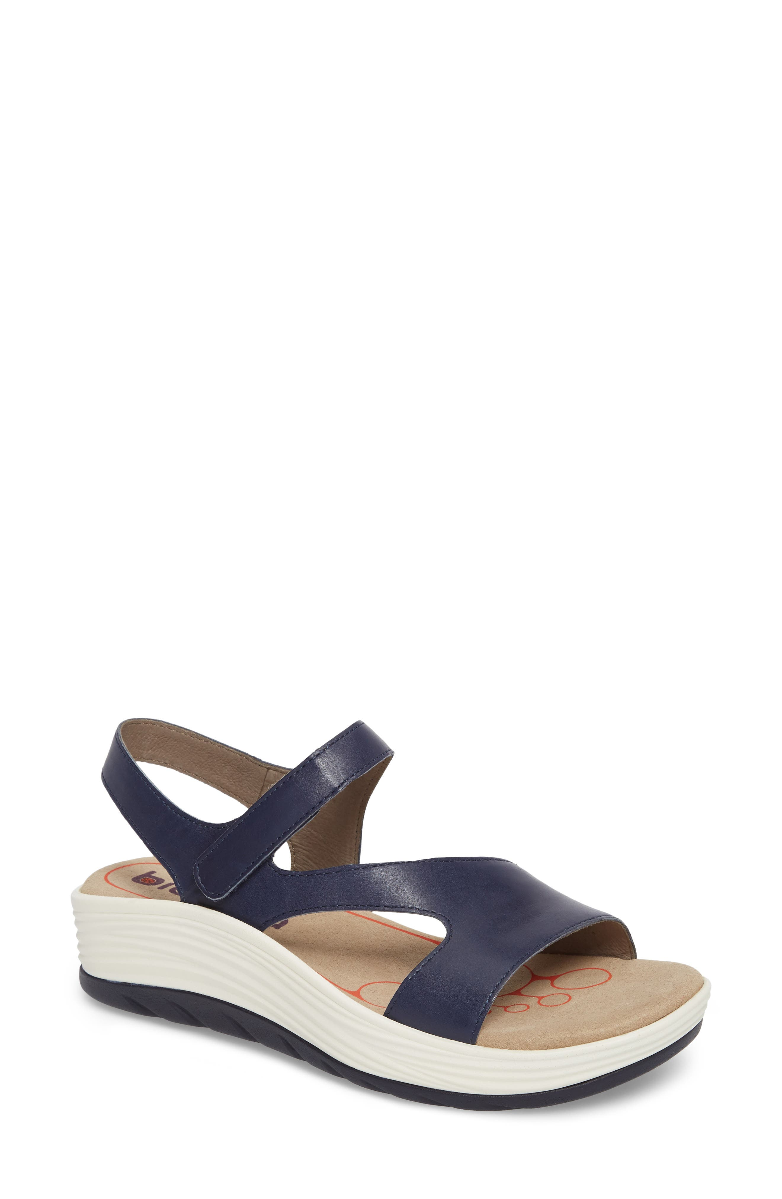 Cybele Platform Sandal,                             Main thumbnail 1, color,                             Peacoat Navy Leather