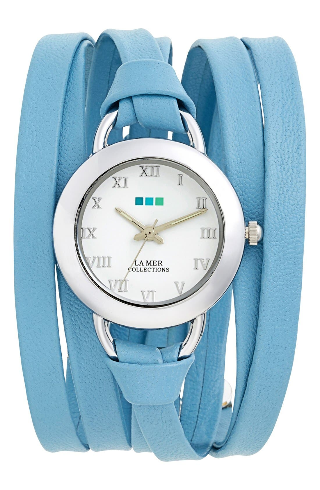 Main Image - La Mer Collections 'Saturn' Leather Wrap Watch, 32mm