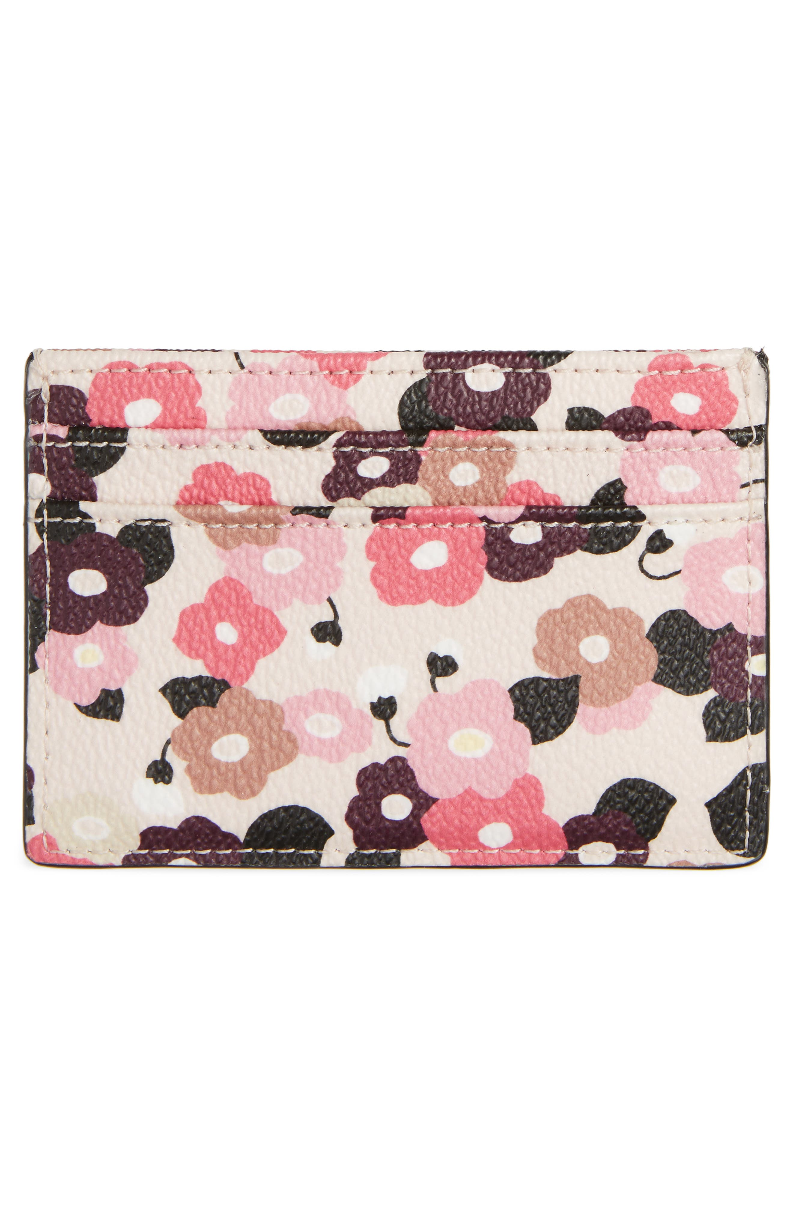 hyde lane floral faux leather card holder,                             Alternate thumbnail 2, color,                             Rose Dew