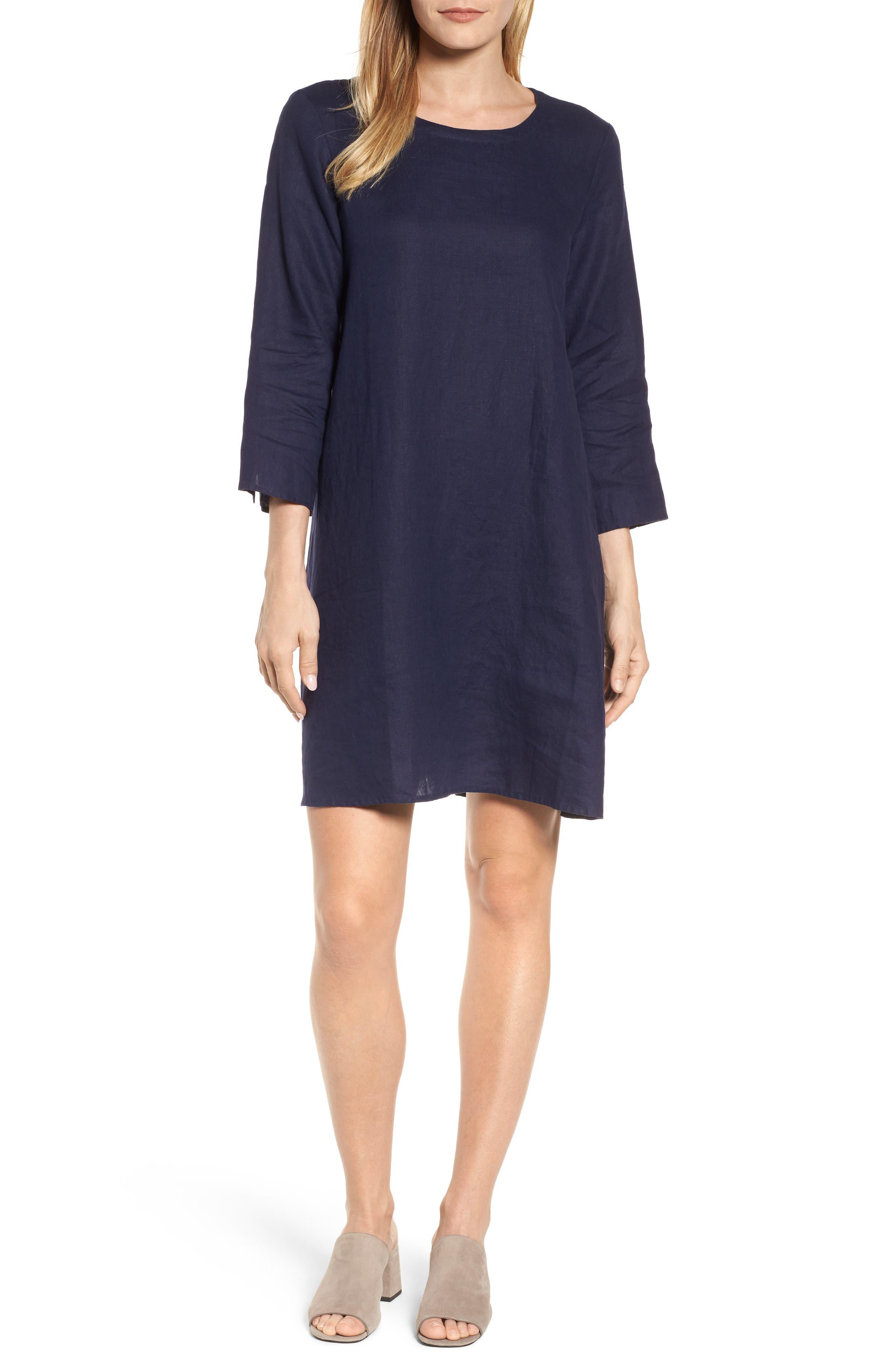 Alternate Image 1 Selected - Eileen Fisher Organic Linen Round Neck Shift Dress