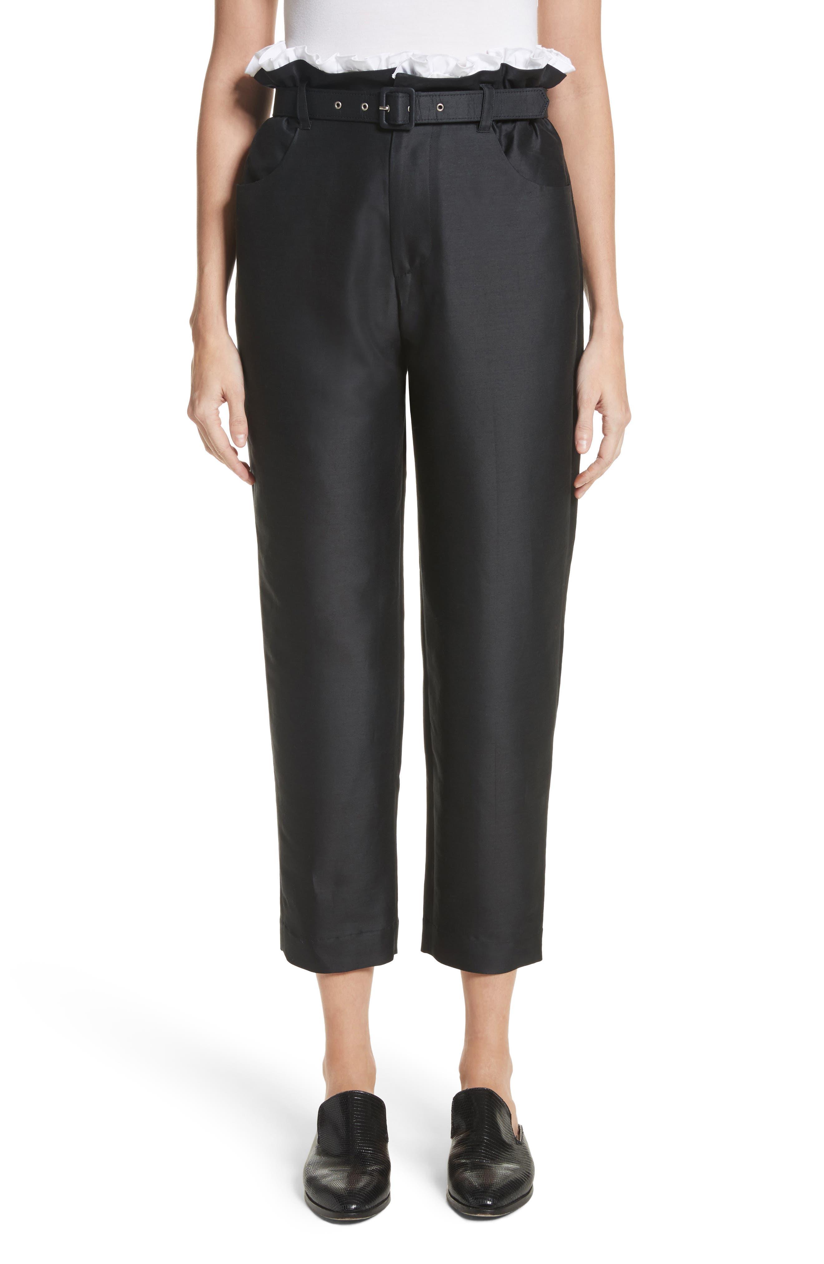 Paperbag Cotton & Silk Trousers,                             Main thumbnail 1, color,                             Black