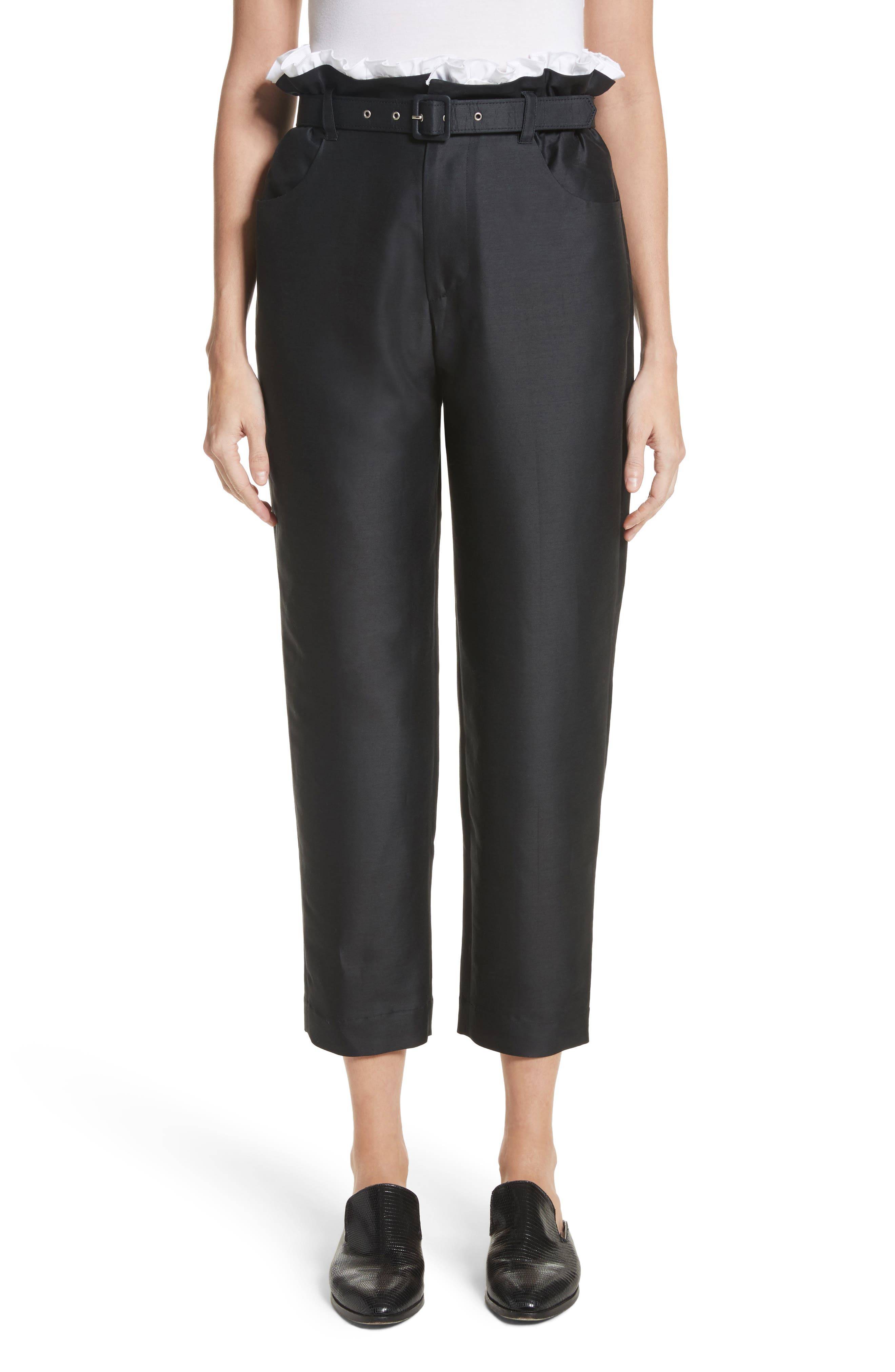 Paperbag Cotton & Silk Trousers,                         Main,                         color, Black