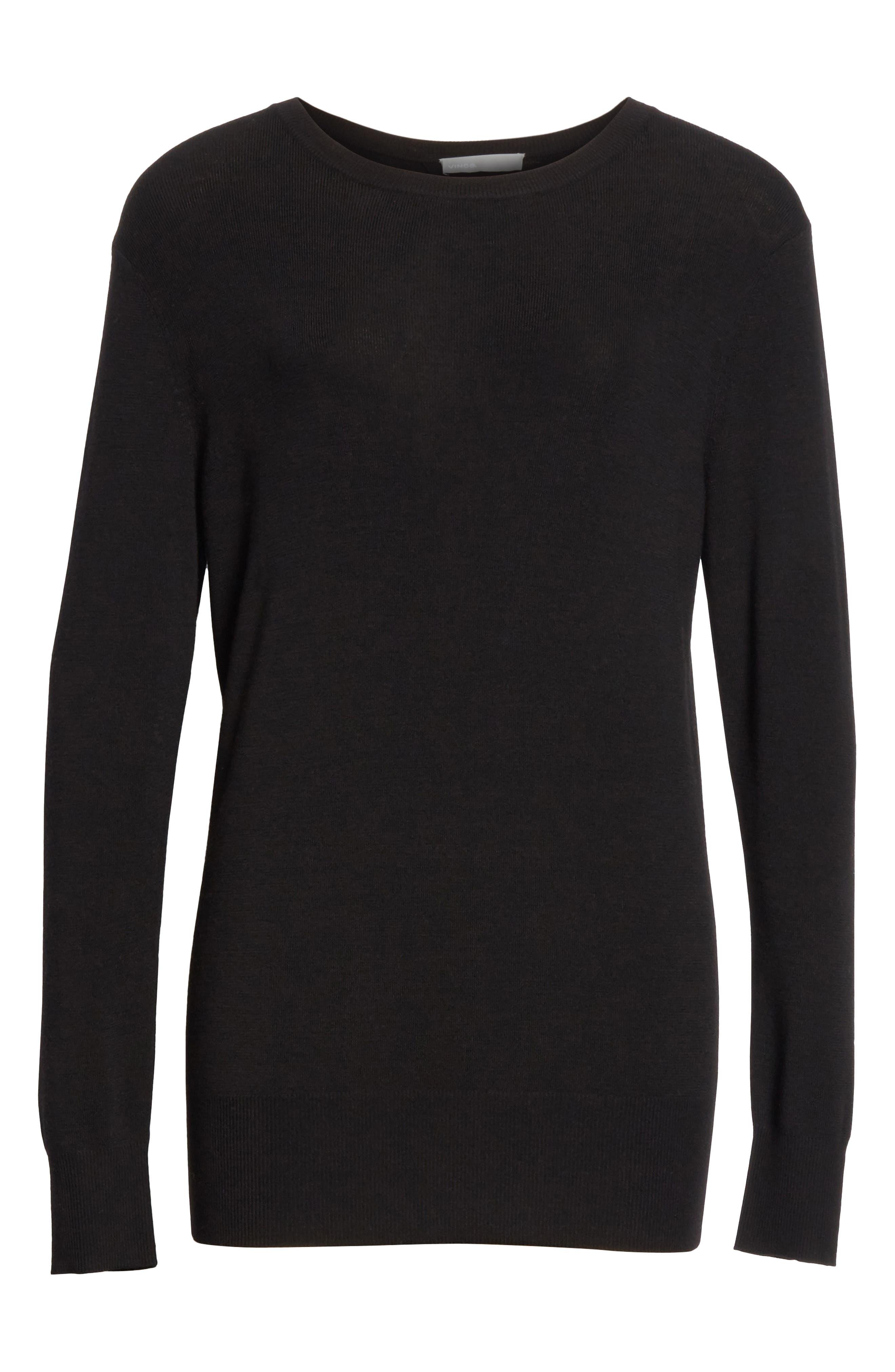 Slit Back Sweater,                             Alternate thumbnail 6, color,                             Black