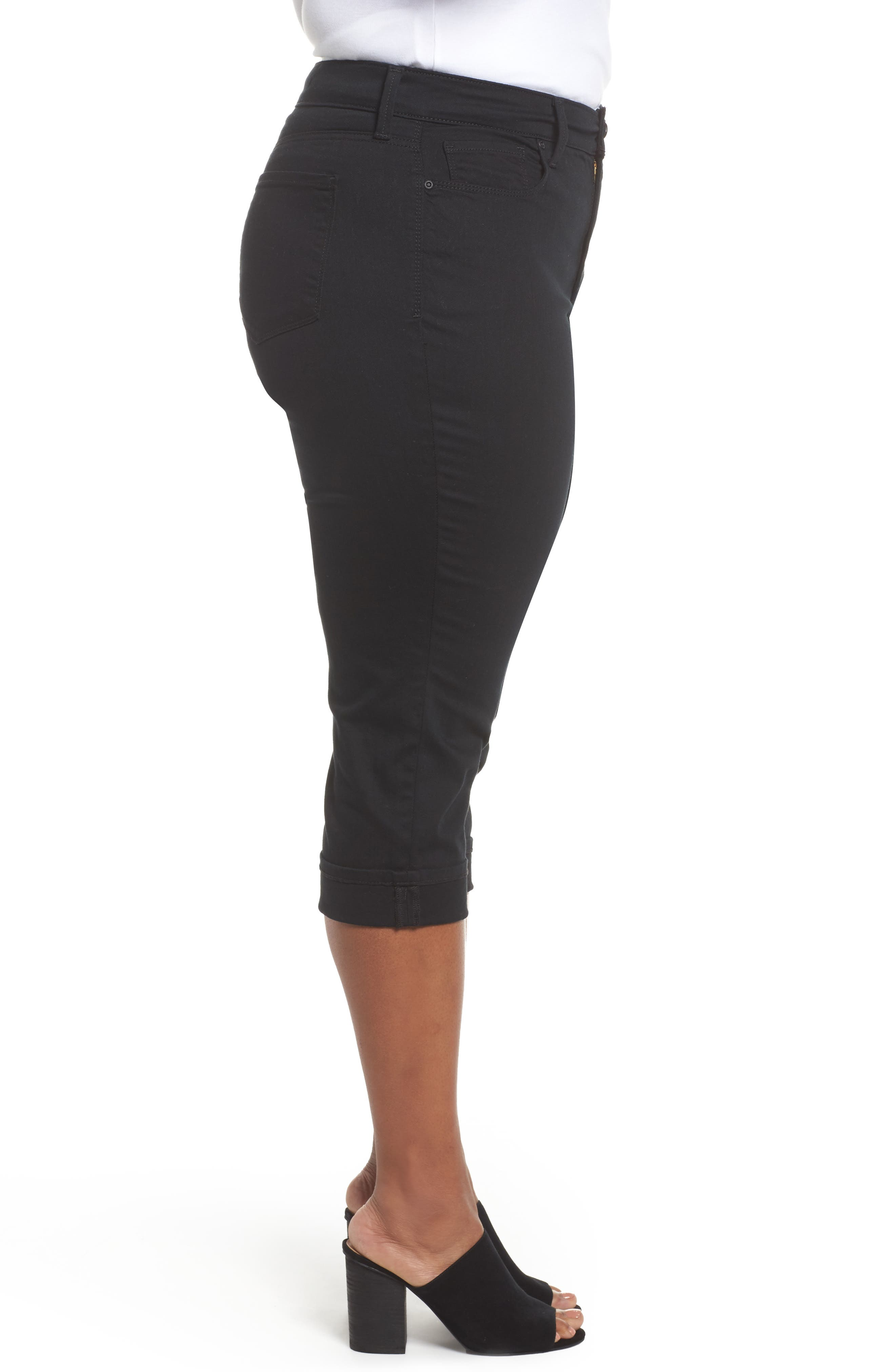 Marilyn Cropped Cuff Jeans,                             Alternate thumbnail 3, color,                             Black