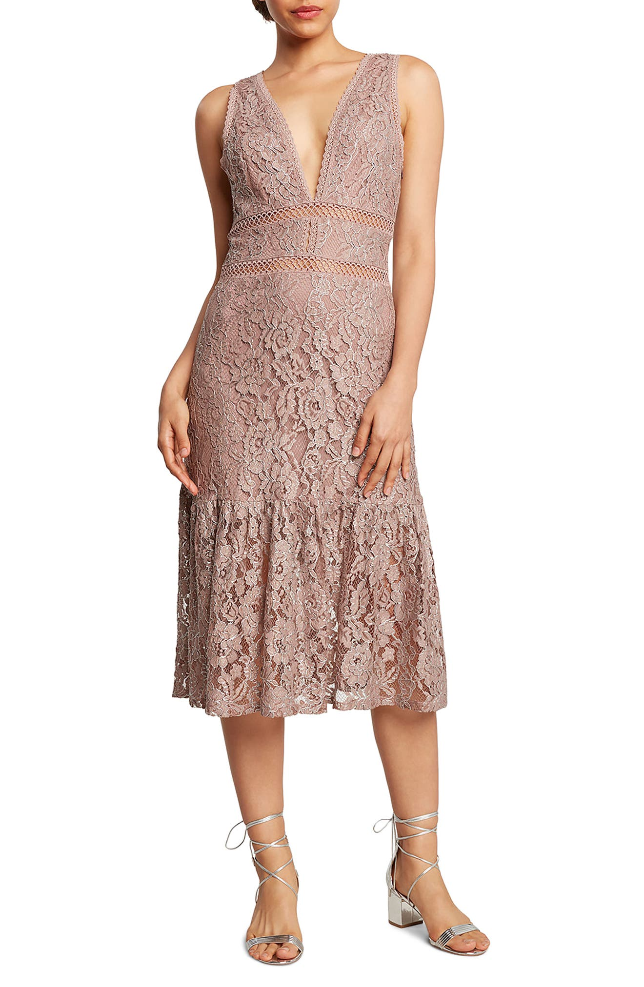 Lace Foil Midi Dress,                             Main thumbnail 1, color,                             Lilac