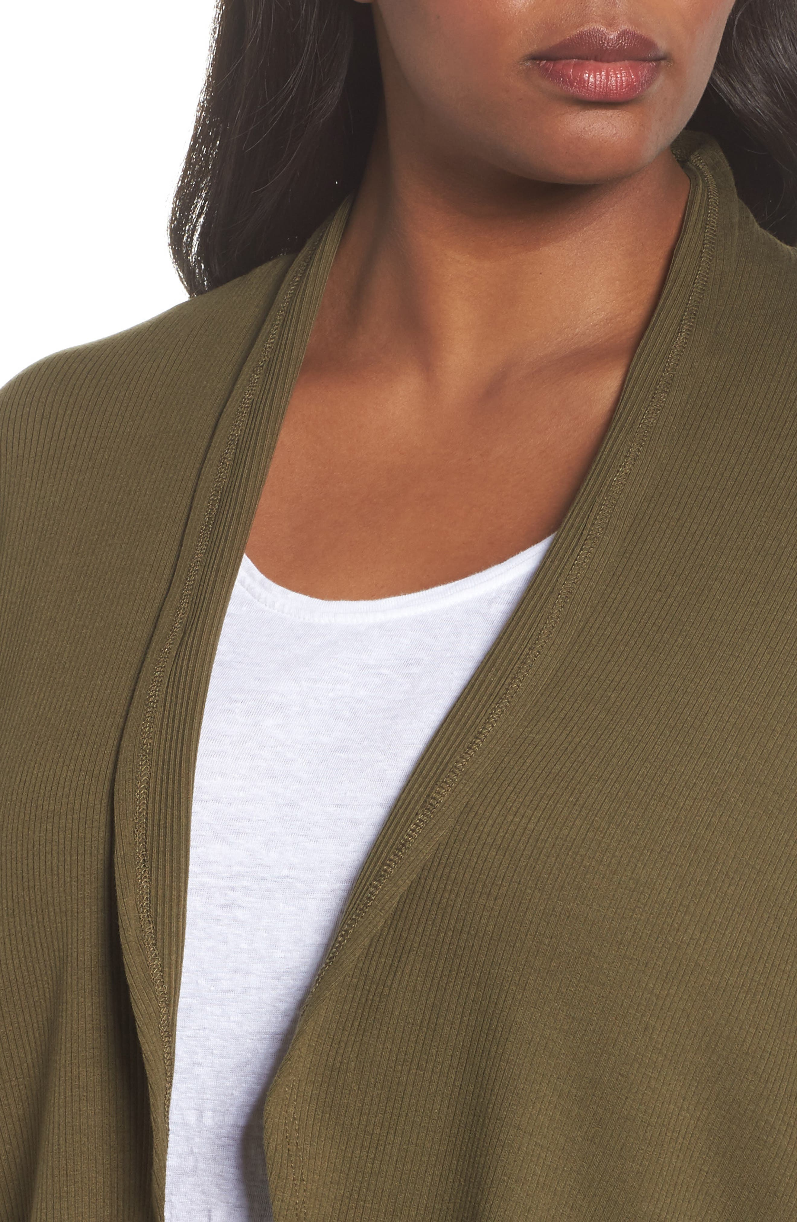 Ribbed Cocoon Cardigan,                             Alternate thumbnail 4, color,                             Olive Dark